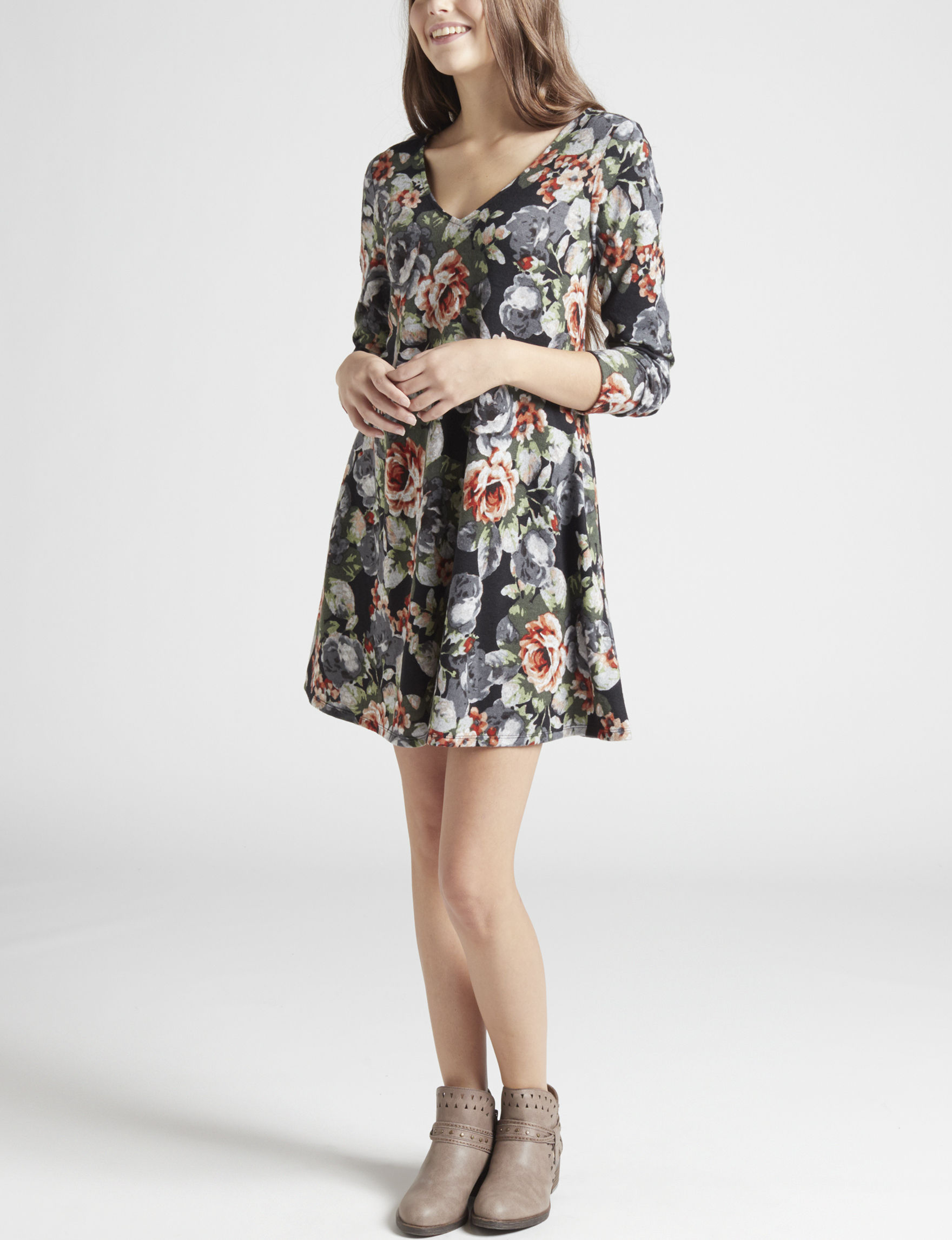 A. Byer Black Floral Everyday & Casual Sweater Dresses