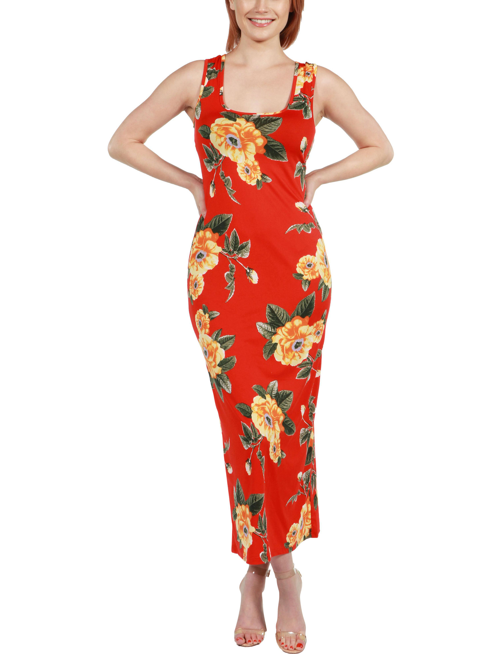 24Seven Comfort Apparel Red Multi Everyday & Casual Sundresses