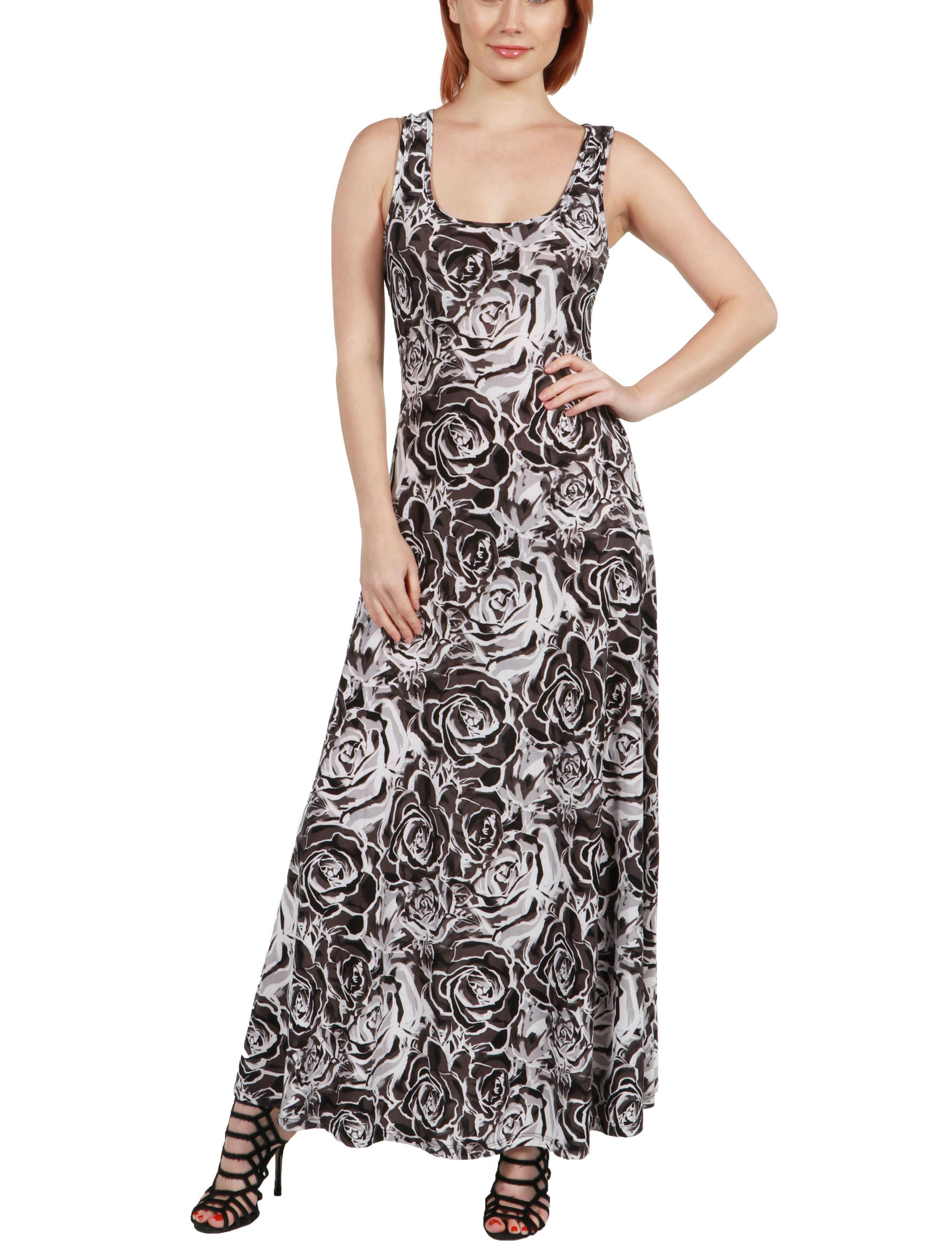 24Seven Comfort Apparel Brown Multi Everyday & Casual Sundresses