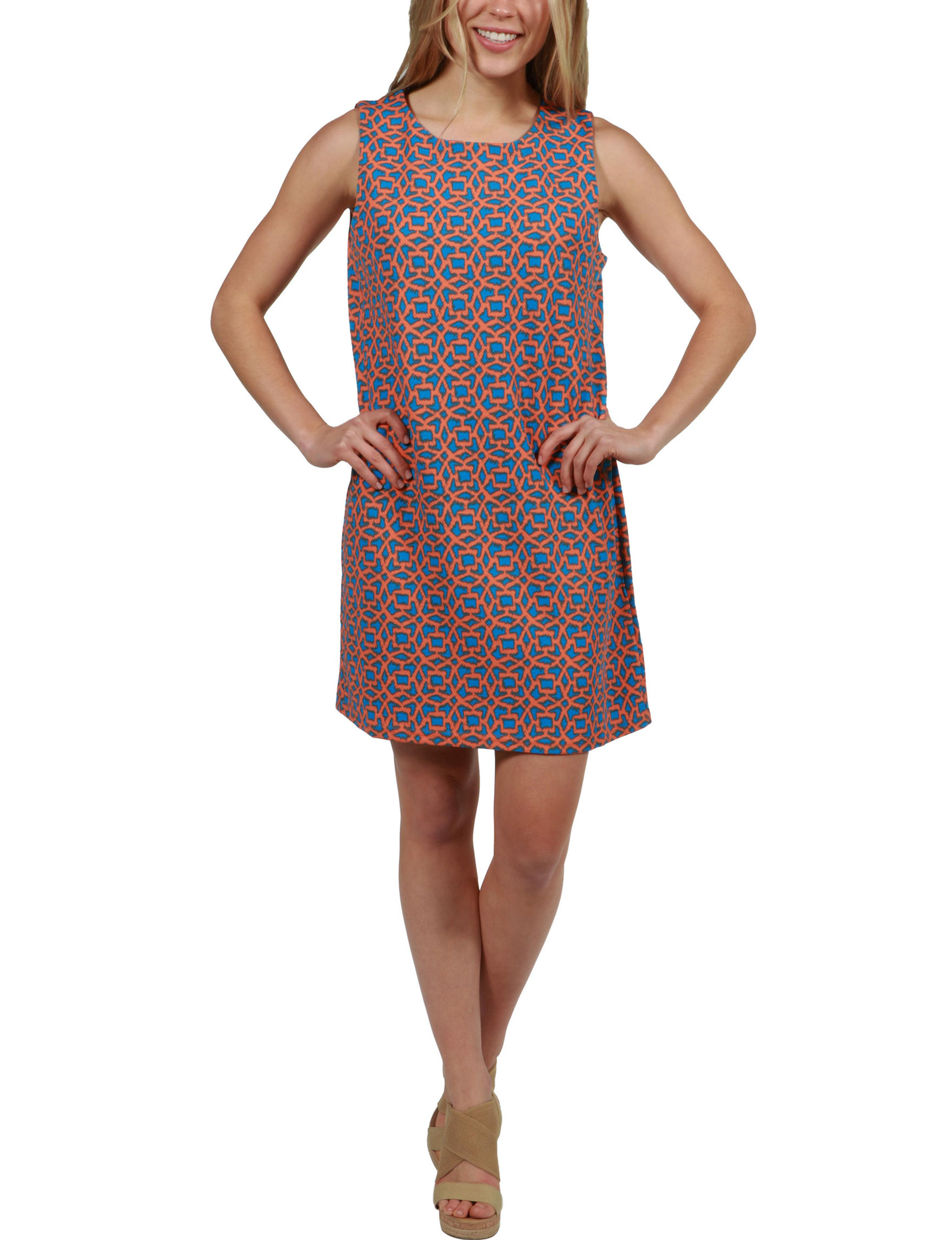 24Seven Comfort Apparel Pink Multi Everyday & Casual Shift Dresses
