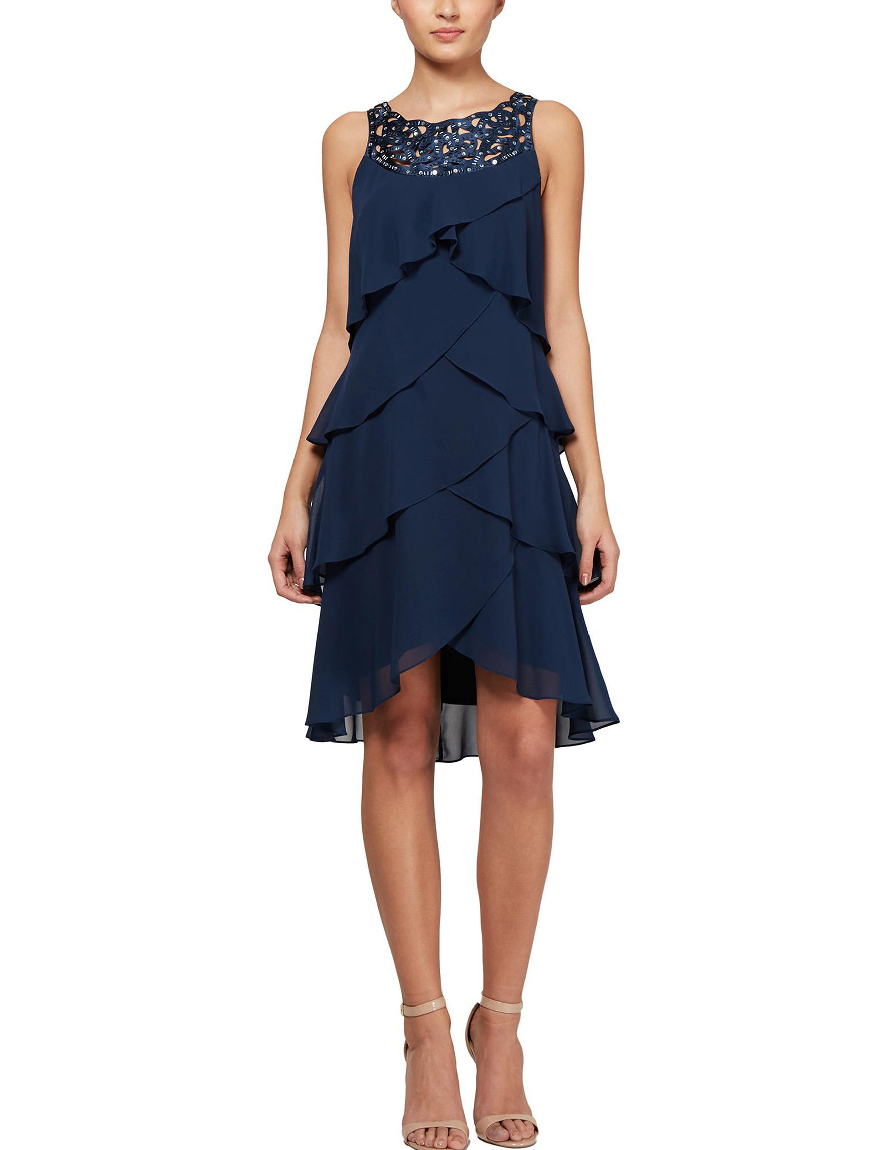 S.L. Fashions Navy Cocktail & Party Evening & Formal