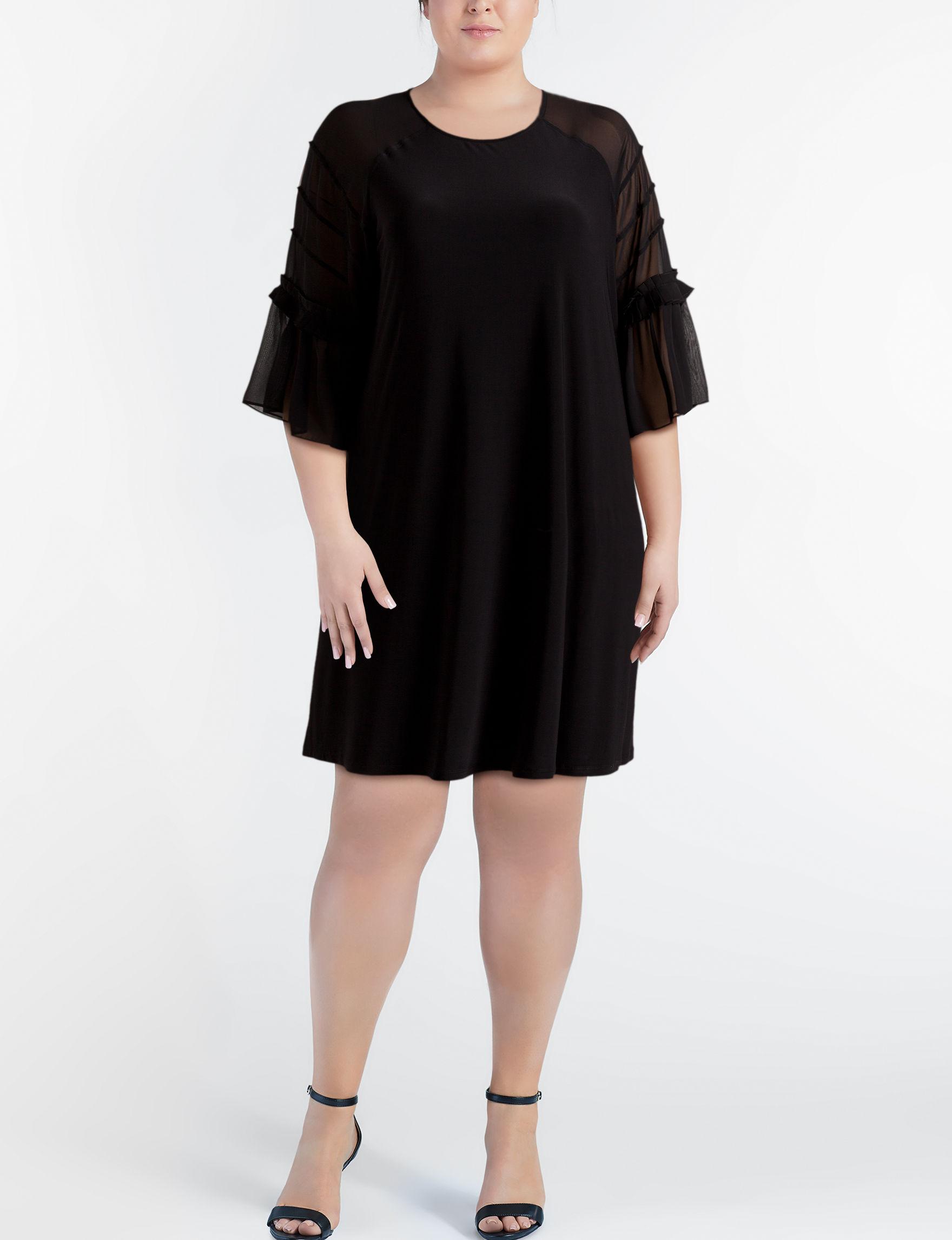 Nina Leonard Black Cocktail & Party Everyday & Casual Shift Dresses