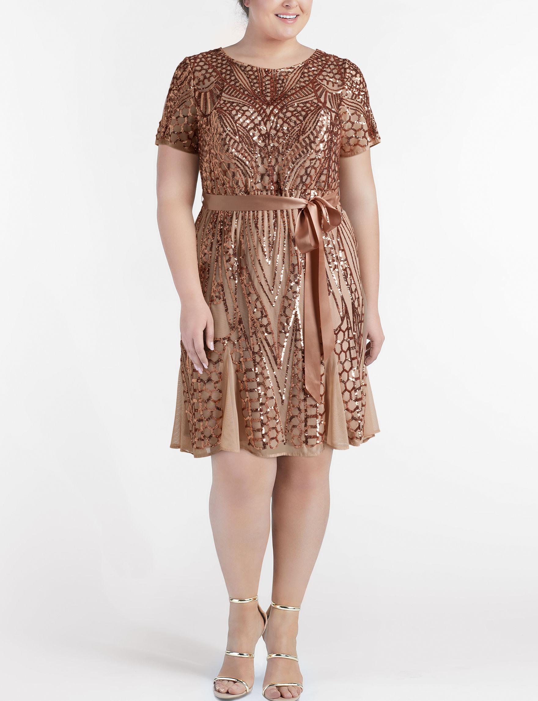 R & M Richards Rose Gold Cocktail & Party Evening & Formal A-line Dresses Fit & Flare Dresses