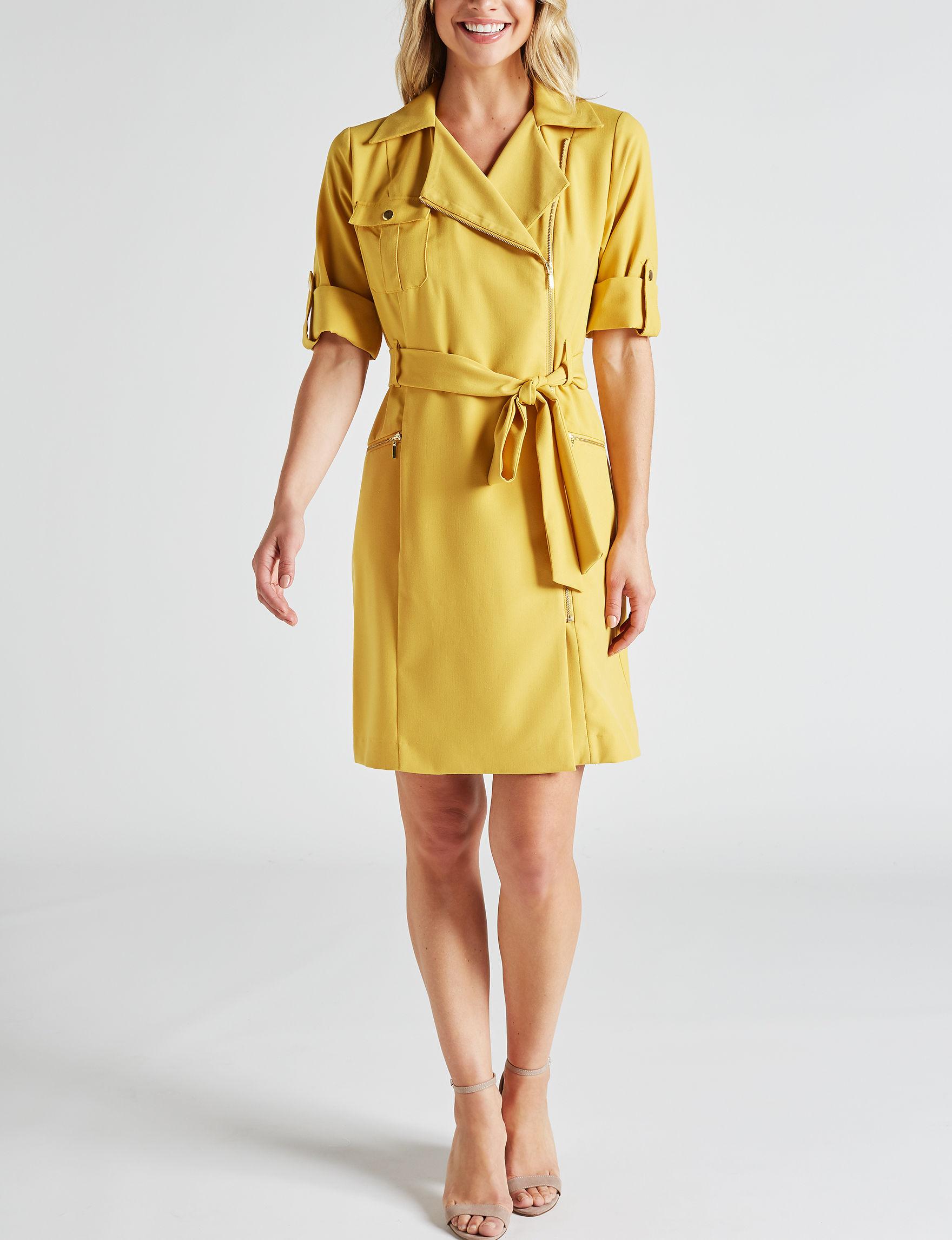 Sharagano Zip Front Shirt Dress