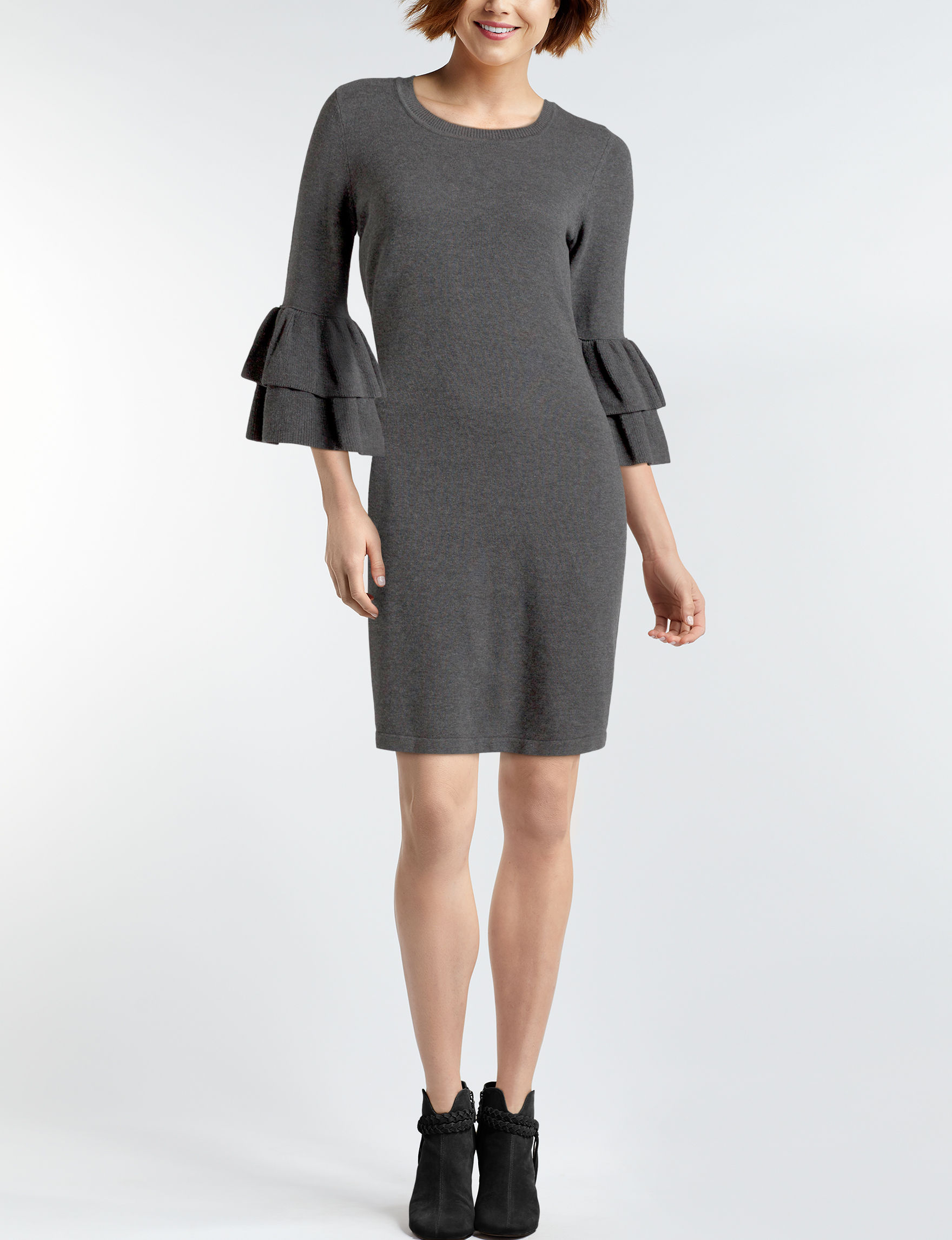 Nine West Grey Everyday & Casual Sweater Dresses