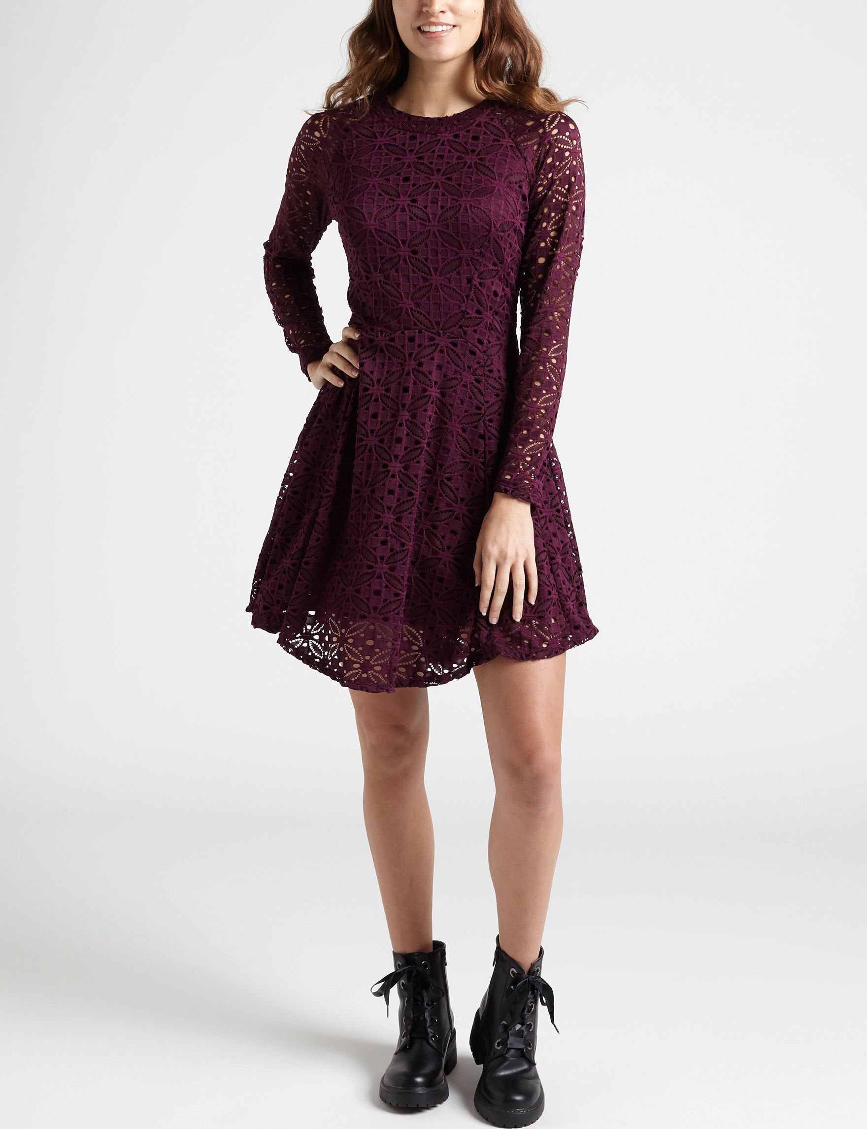 BeBop Plum Everyday & Casual Fit & Flare Dresses