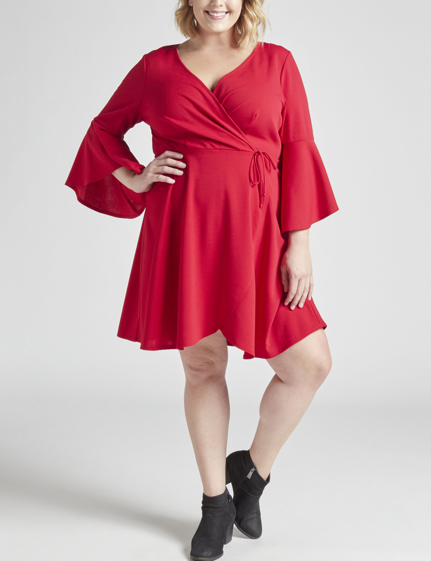 Love Squared Red Everyday & Casual Fit & Flare Dresses