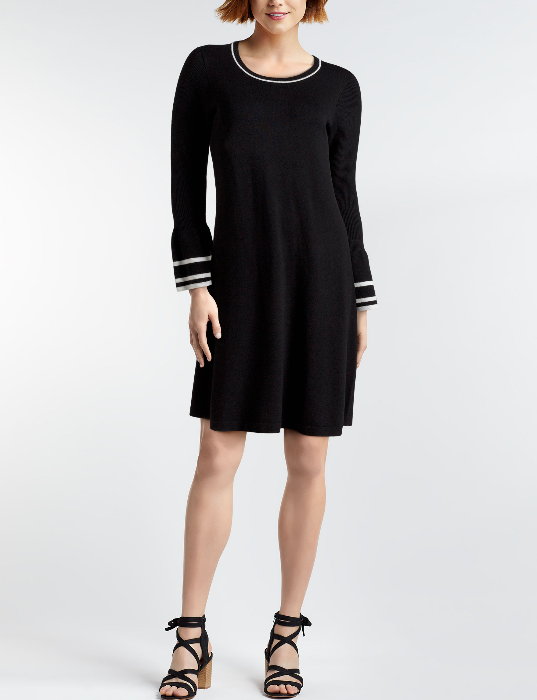 AGB Black Everyday & Casual A-line Dresses Fit & Flare Dresses Sweater Dresses