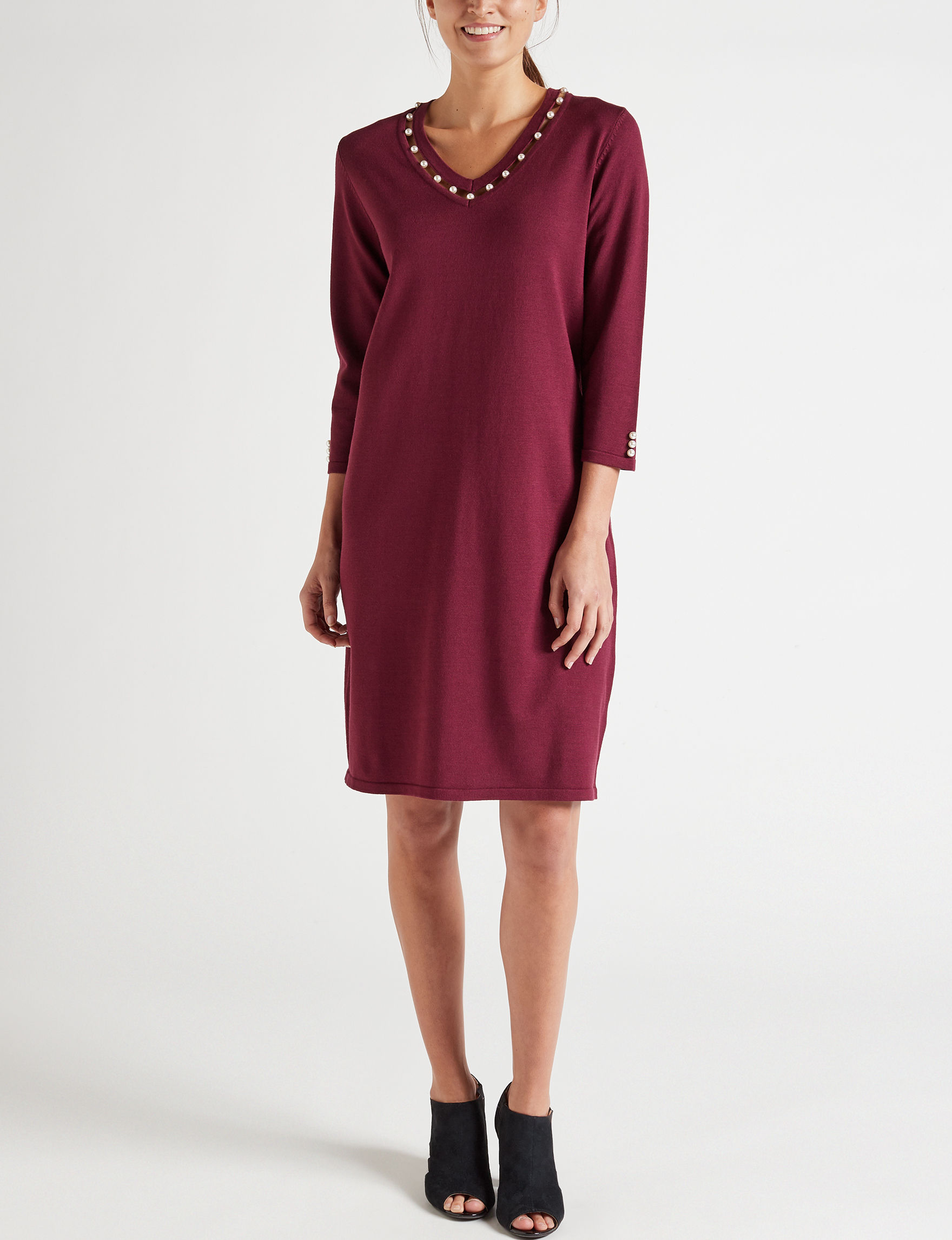 Harlow & Rose Burgundy Everyday & Casual Sweater Dresses