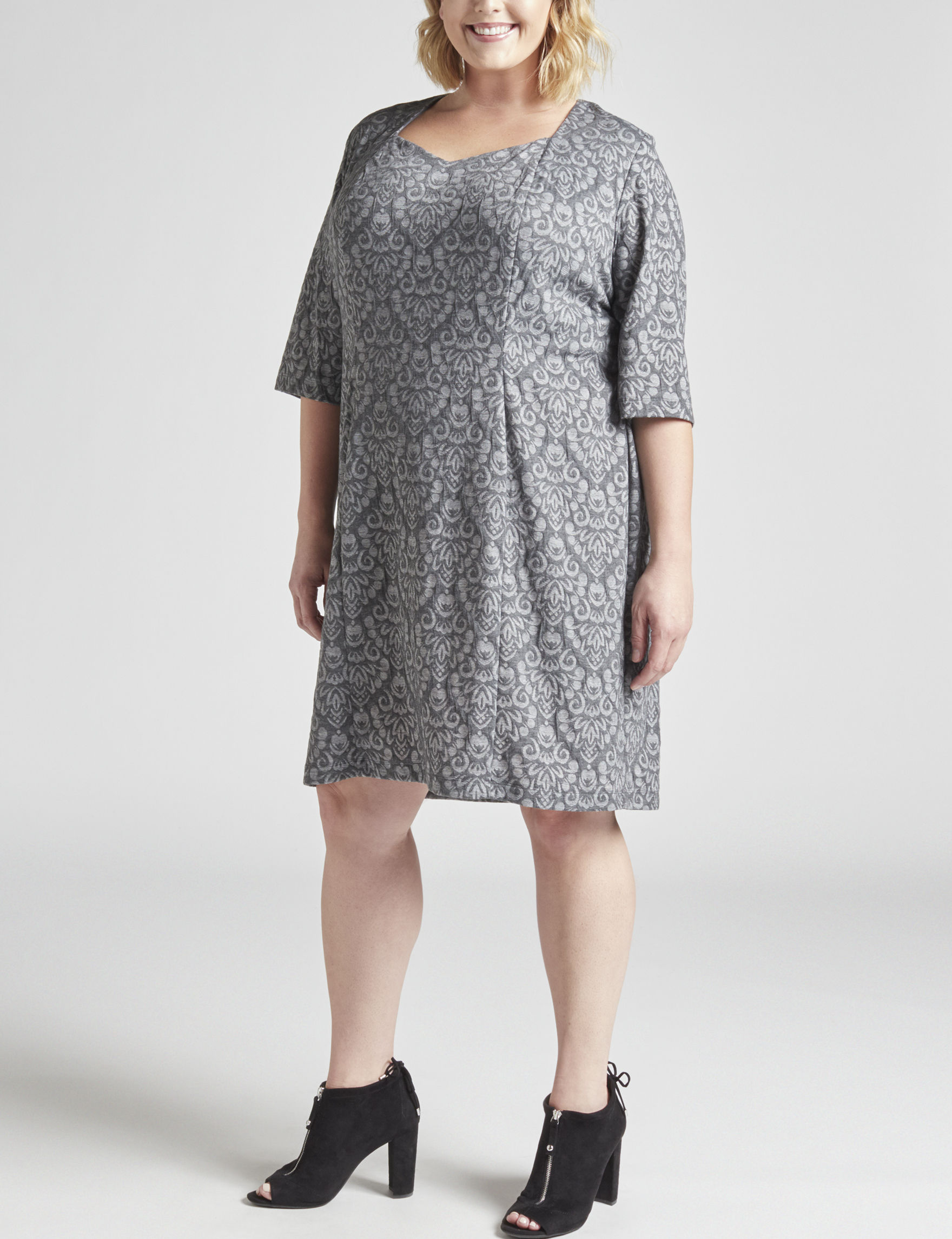 Connected Grey Everyday & Casual Sheath Dresses
