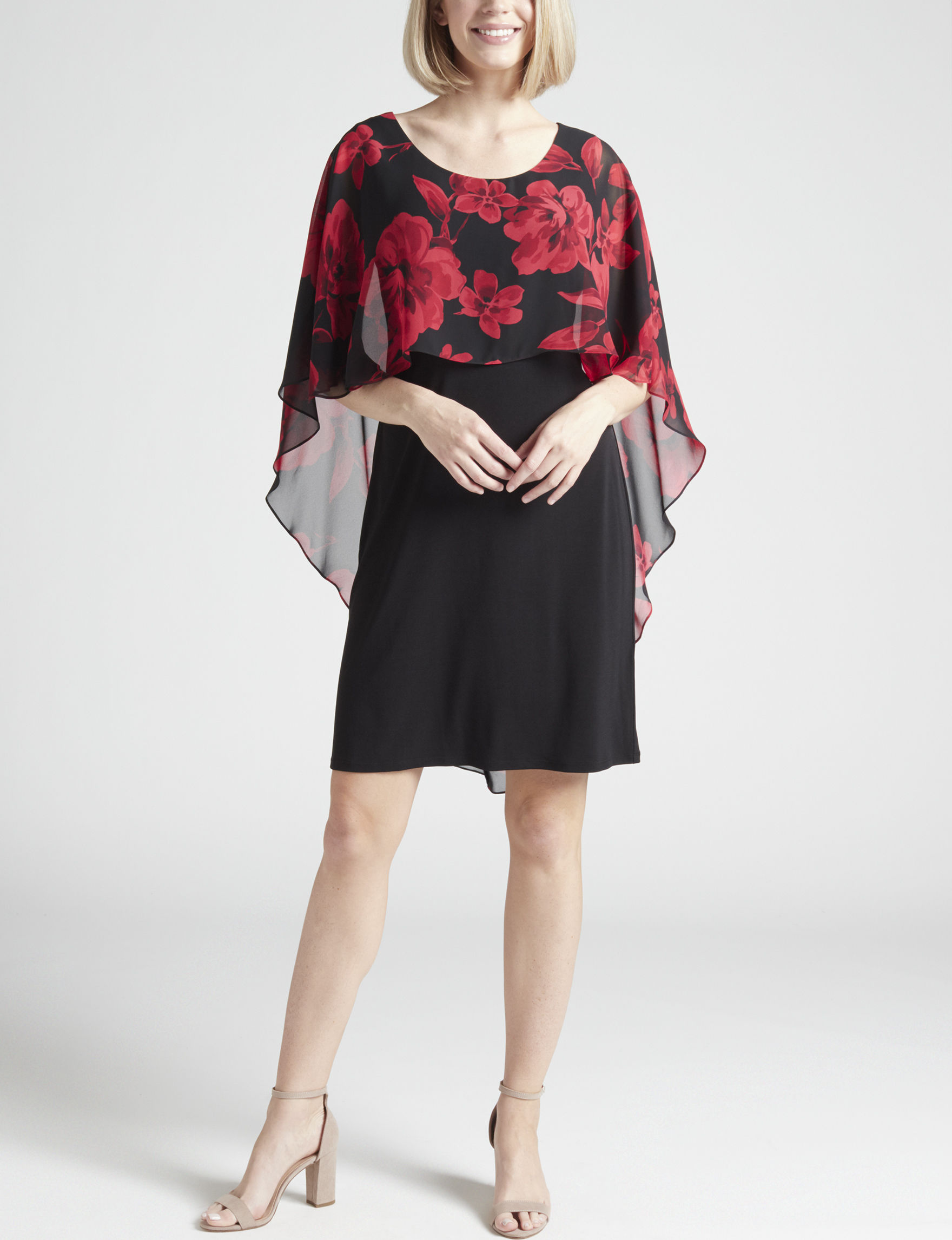 dc0548249124 Glamour Women's Chiffon Floral Poncho Dress | Stage Stores
