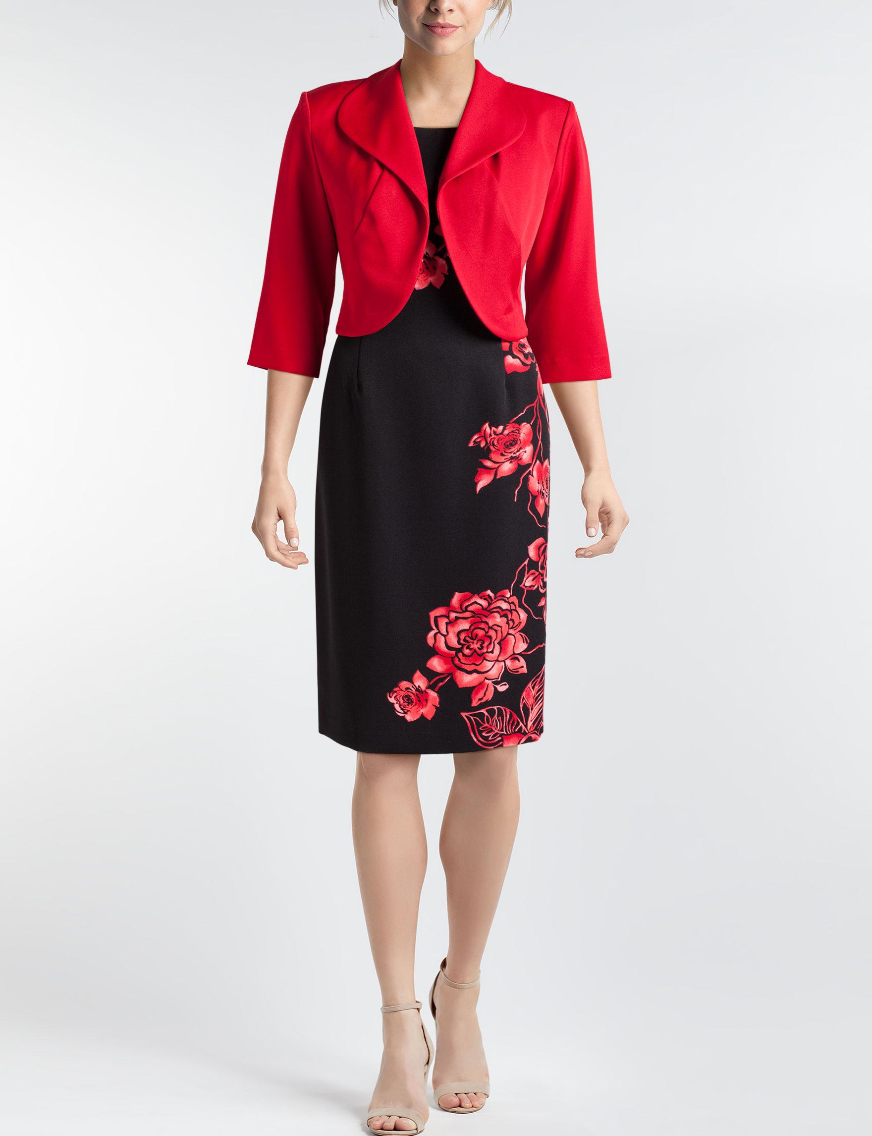 Maya Brooke Black / Red Everyday & Casual Jacket Dresses