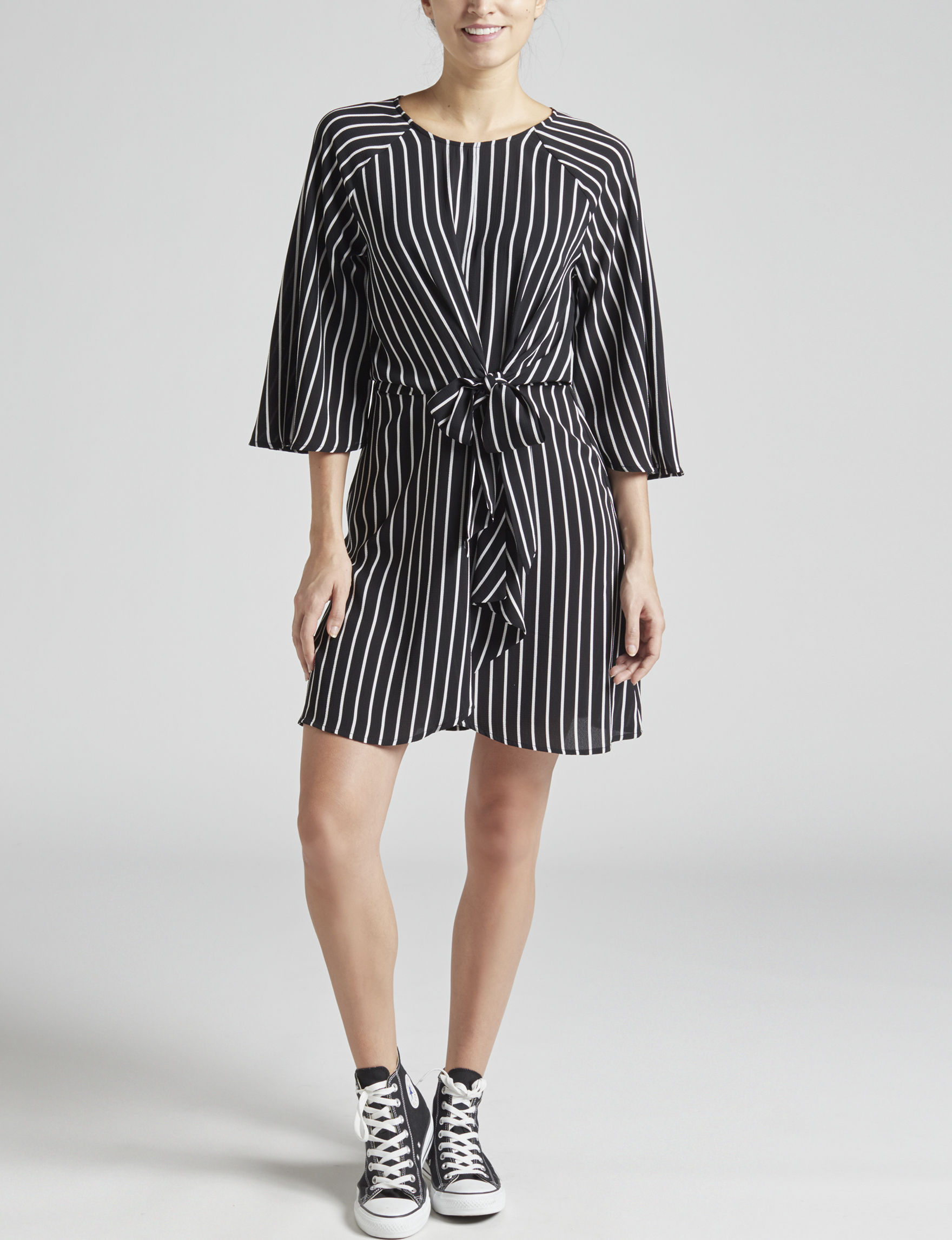 BeBop Black / White Everyday & Casual Fit & Flare Dresses