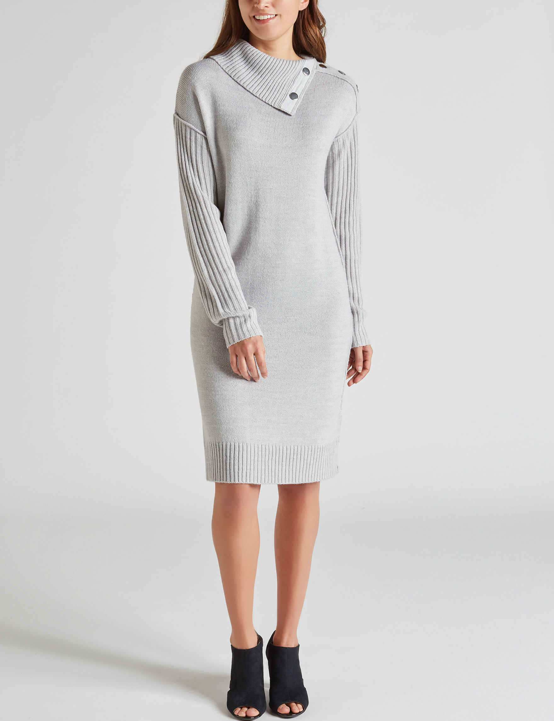 Harlow & Rose Grey Everyday & Casual Sweater Dresses