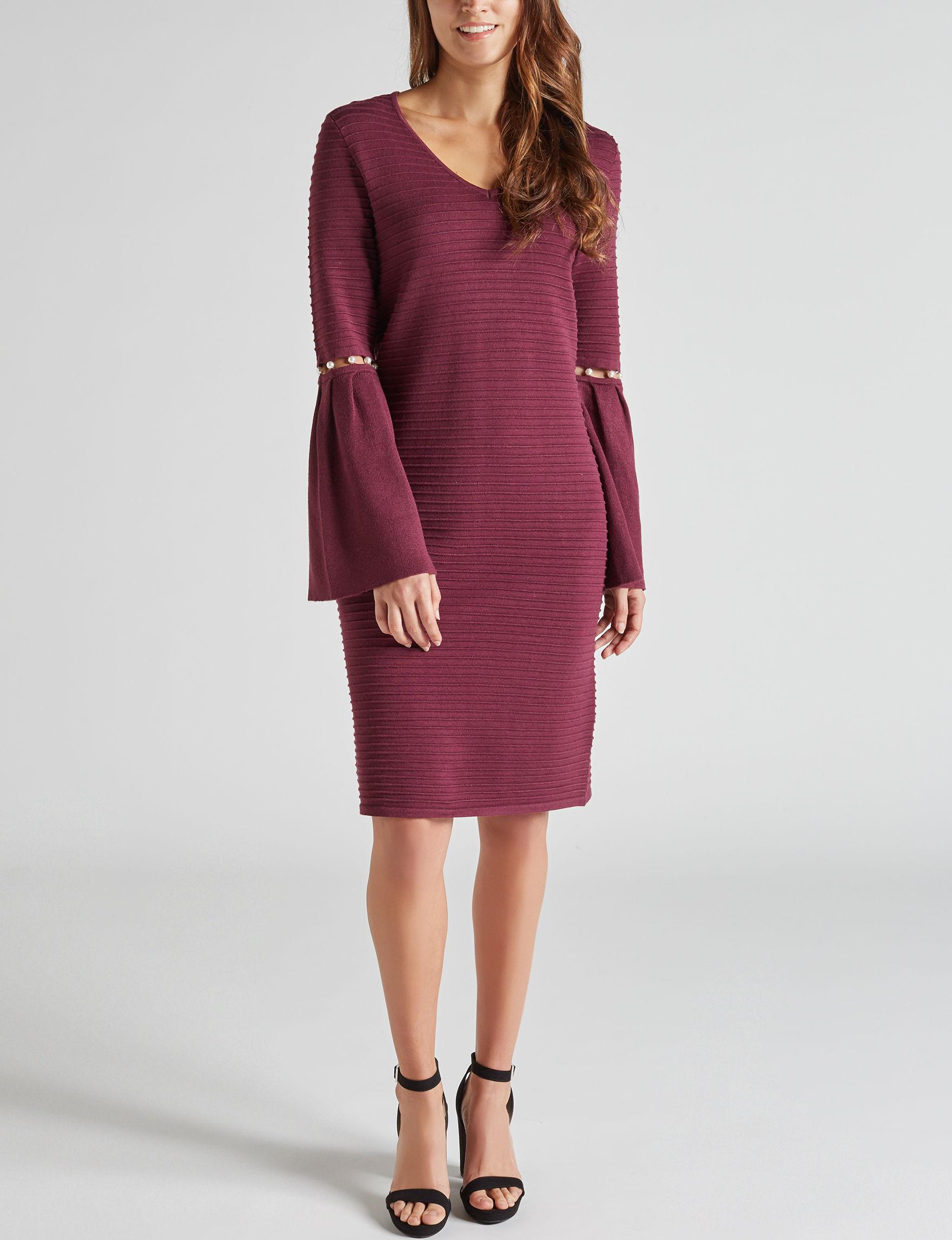 Harlow & Rose Burgundy Everyday & Casual Sweater Dresses