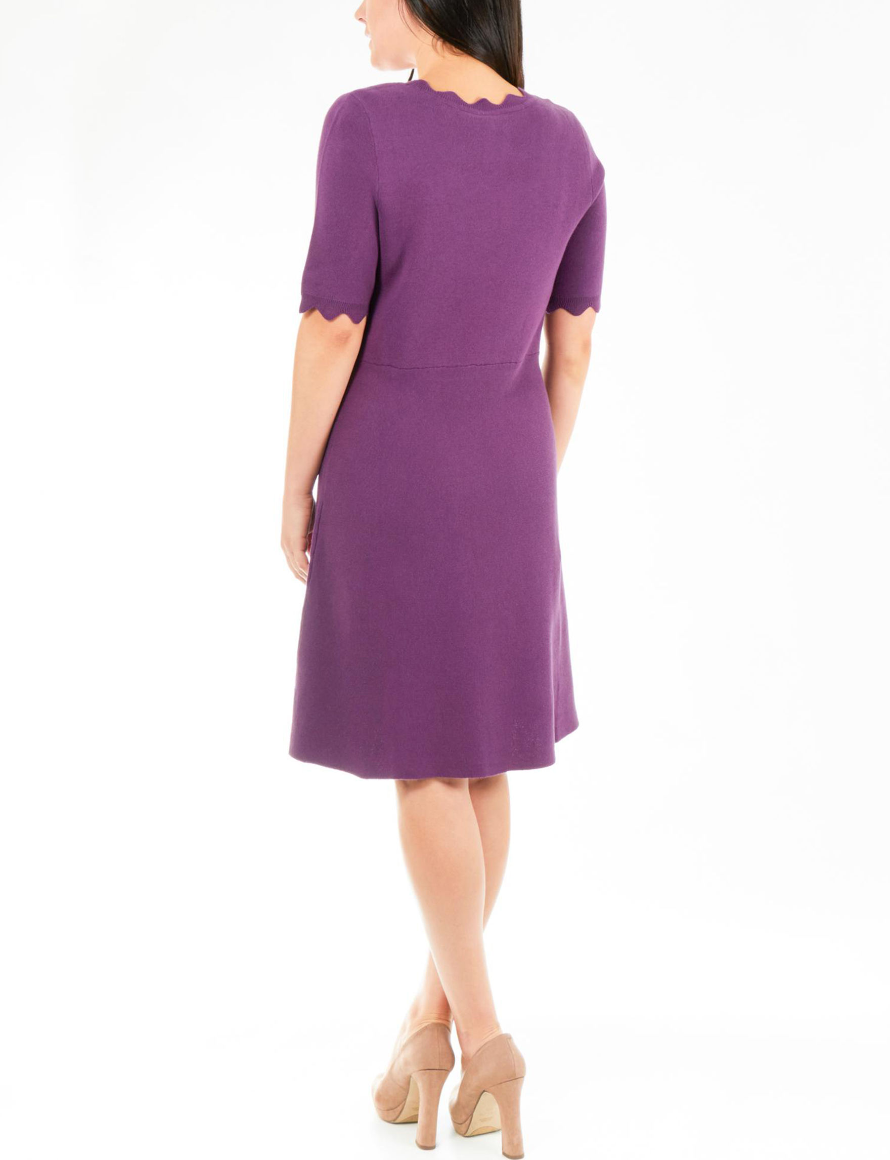 7b2bd83086 NY Collection Petite Scalloped Fit   Flare Sweater Dress