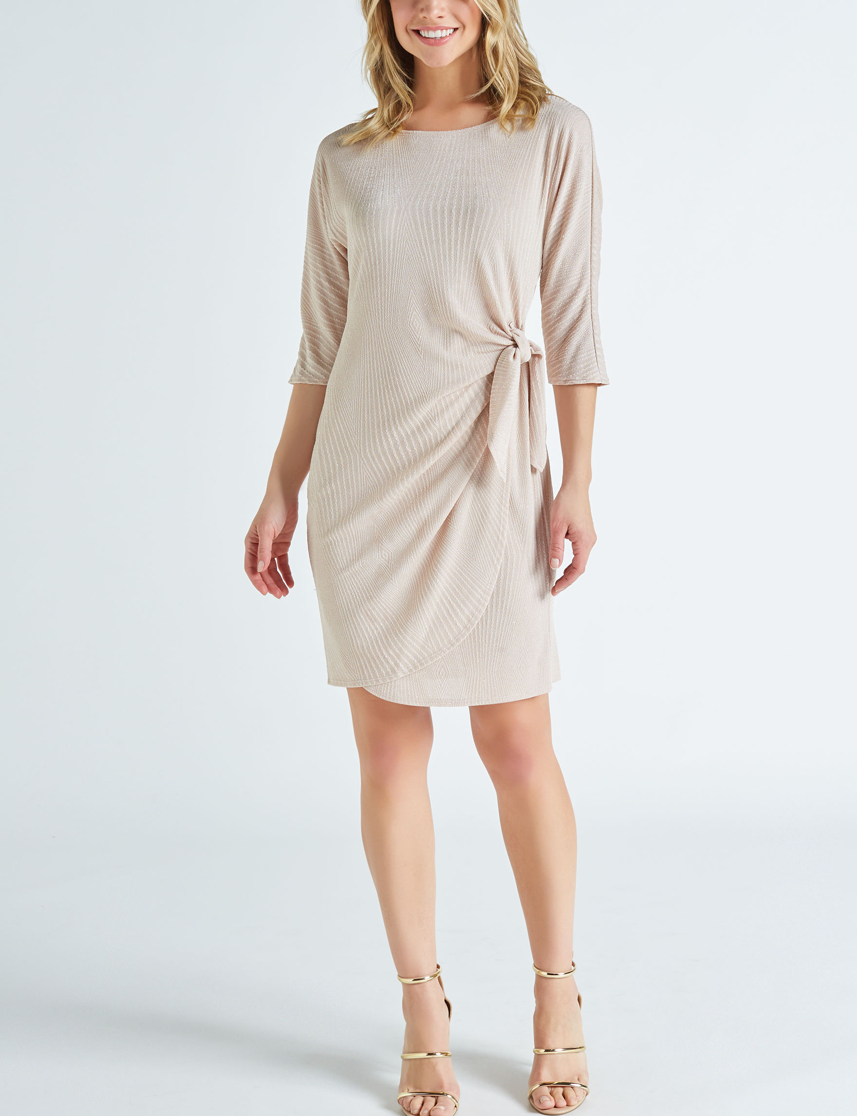 Robbie Bee Champagne Everyday & Casual A-line Dresses