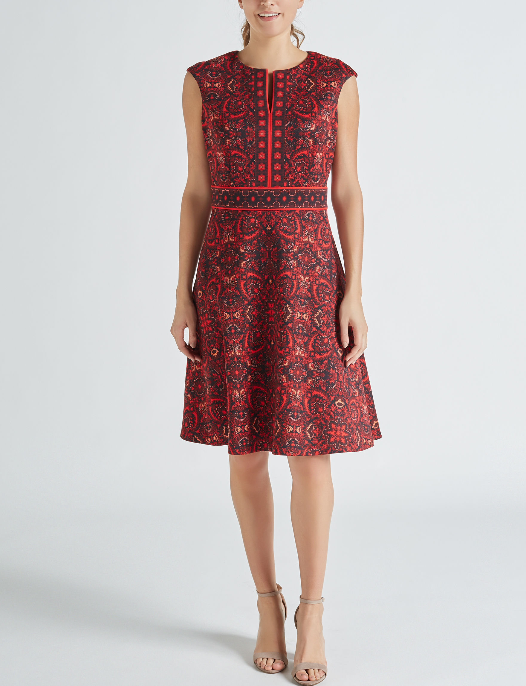 London Times Black / Red Everyday & Casual Fit & Flare Dresses