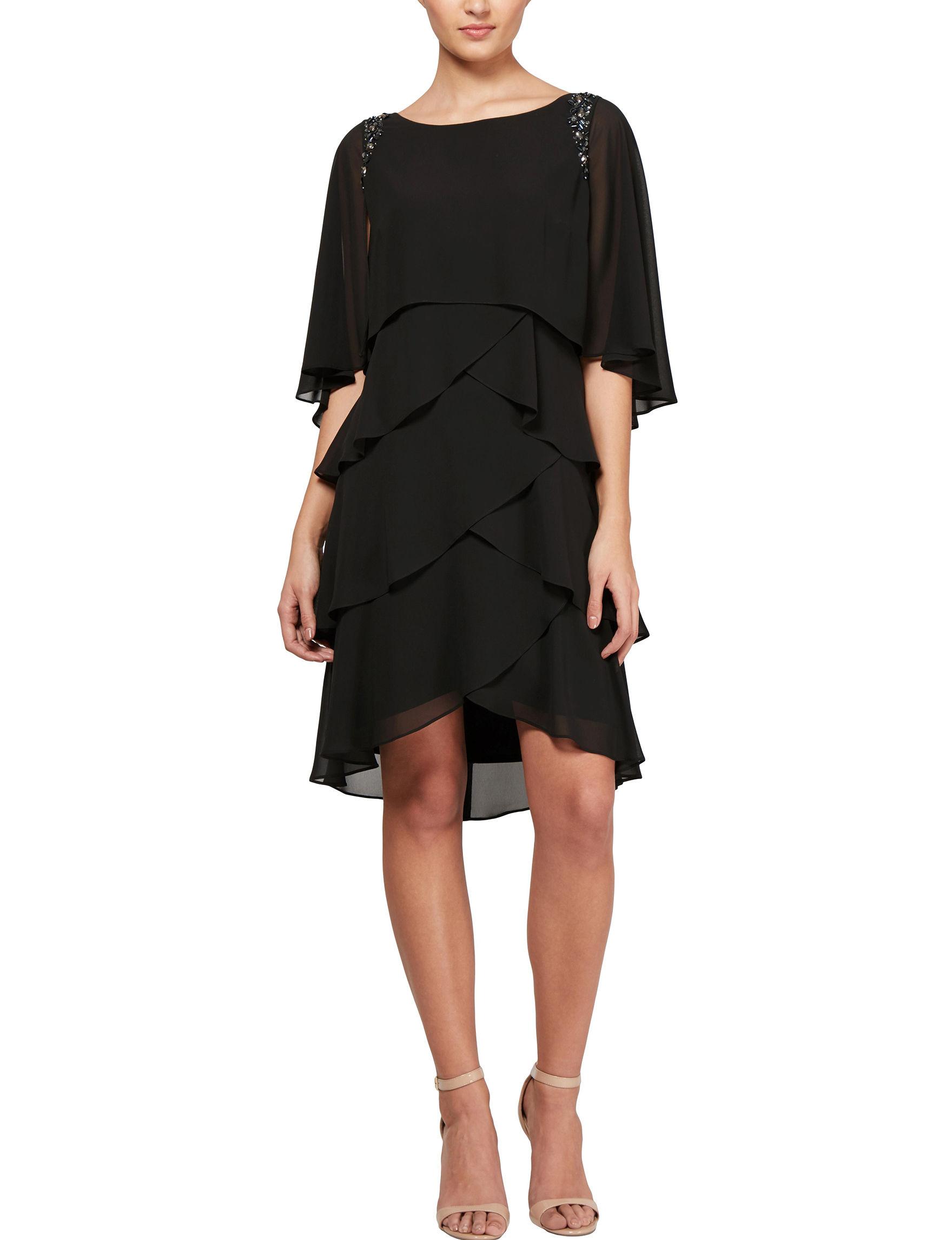 S.L. Fashions Black Cocktail & Party Evening & Formal Jacket Dresses