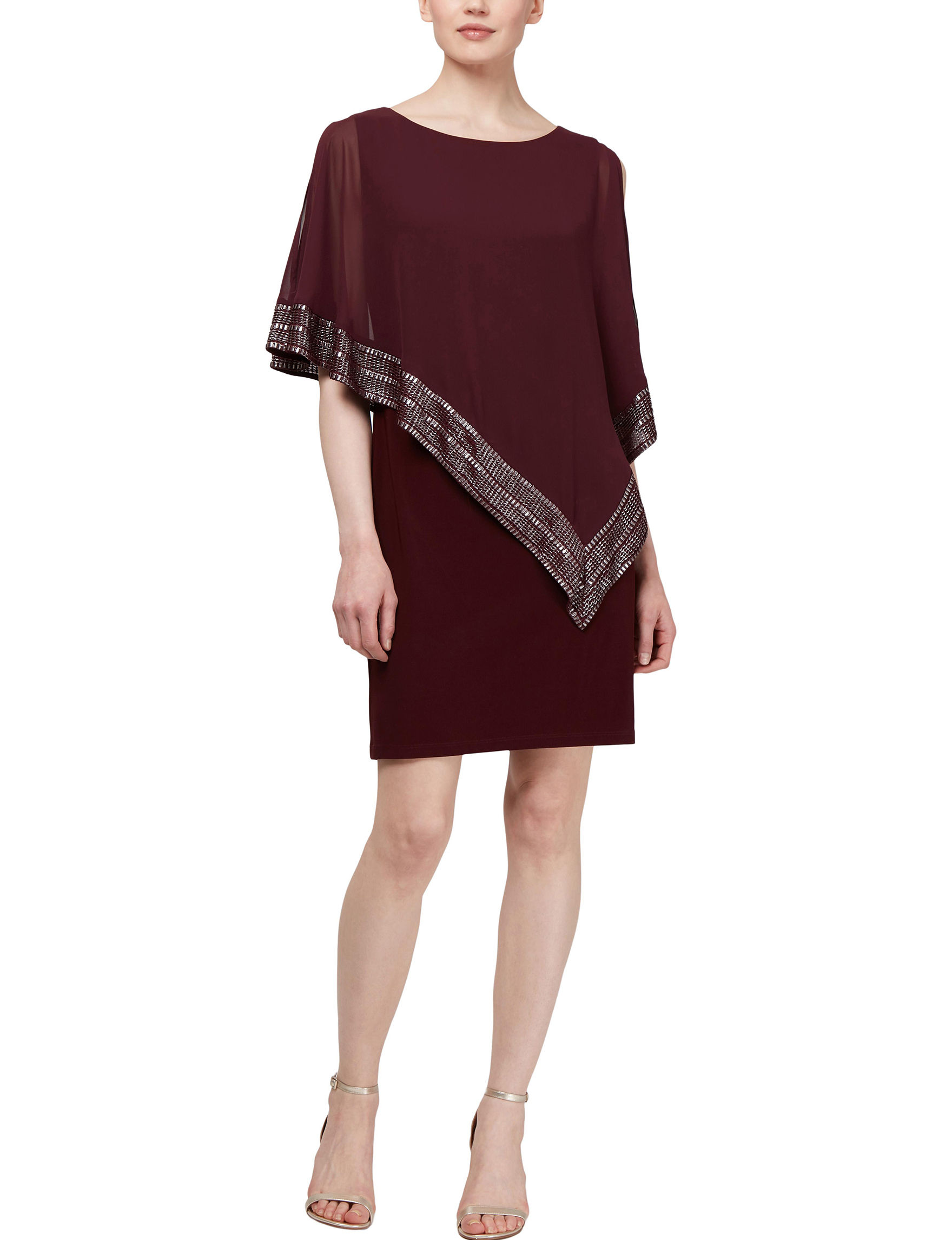 S.L. Fashions Burgundy Cocktail & Party Evening & Formal Jacket Dresses