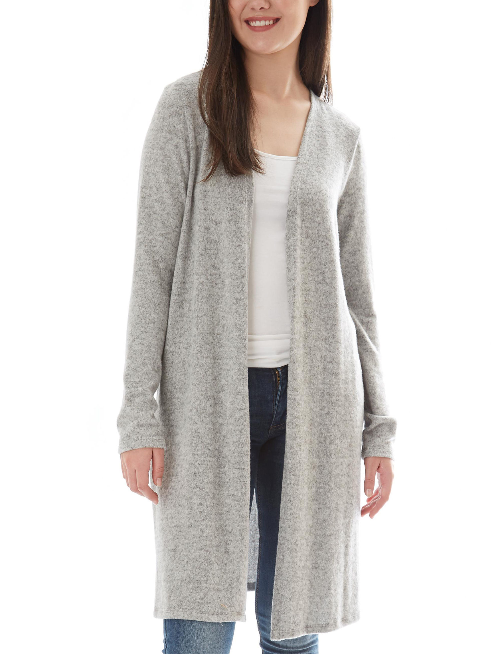 A. Byer Heather Grey Cardigans Everyday & Casual