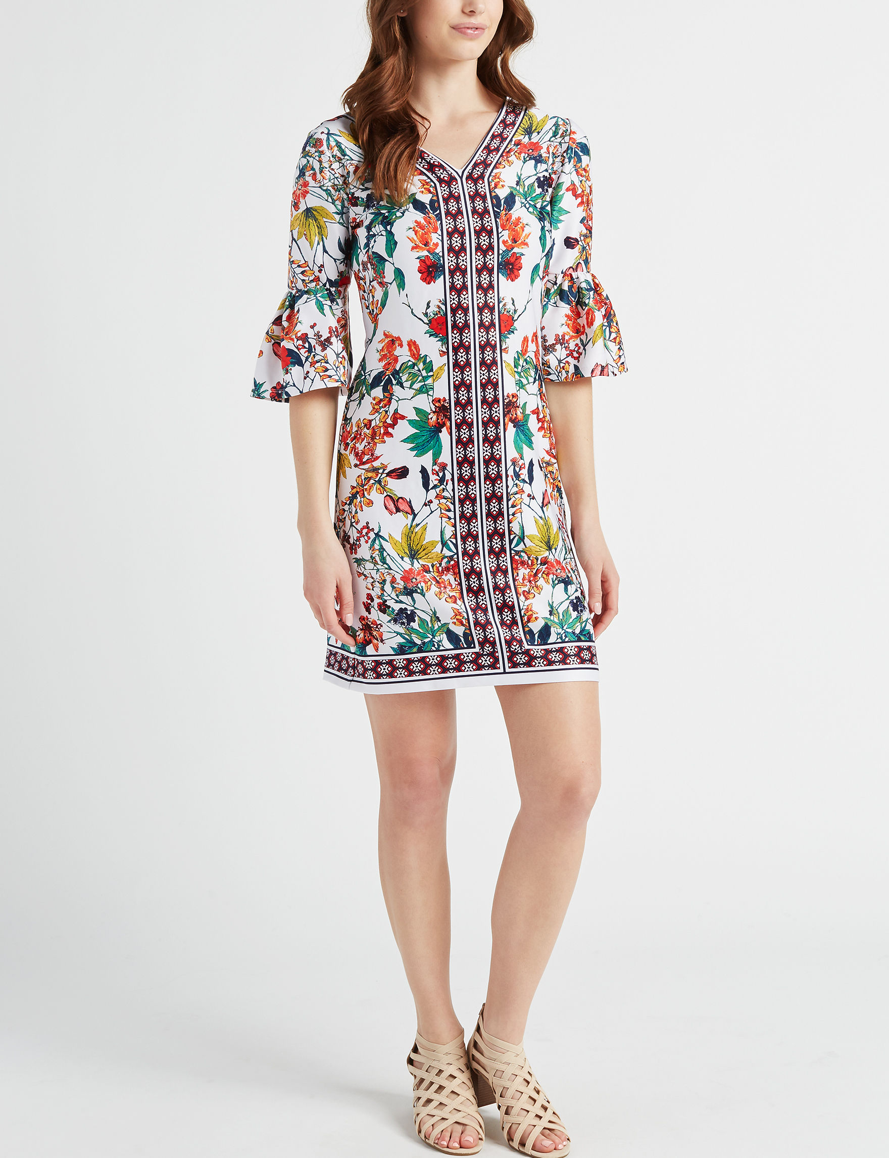 Robbie Bee White Floral Everyday & Casual Shift Dresses