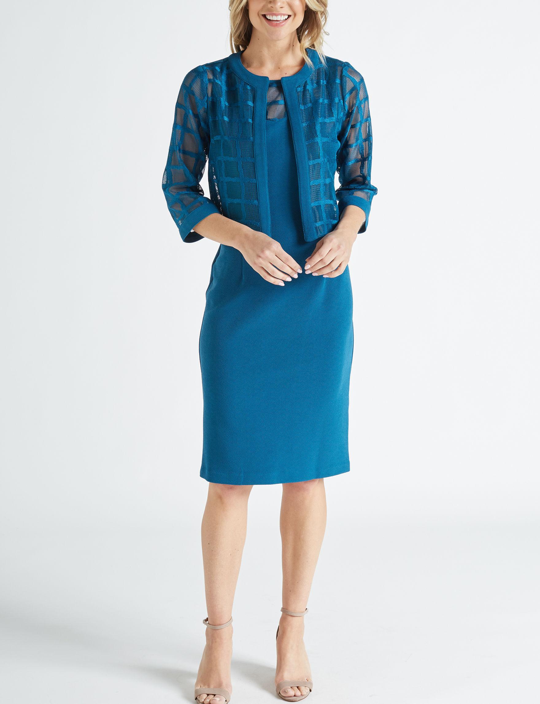 Maya Brooke Medium Blue Everyday & Casual Jacket Dresses