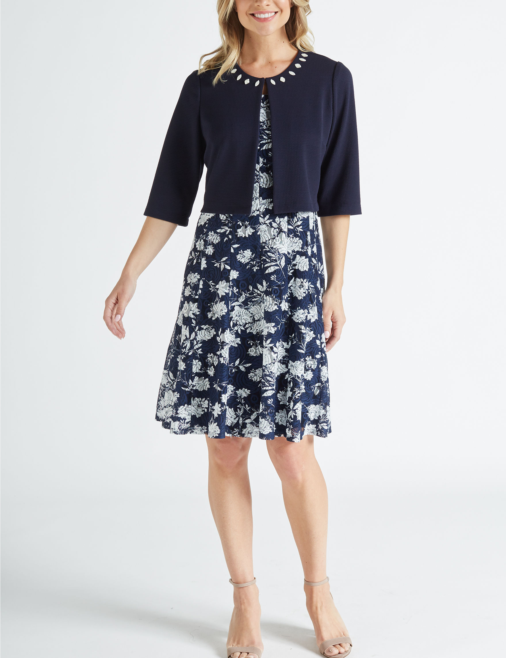 Perceptions White / Navy Everyday & Casual Jacket Dresses