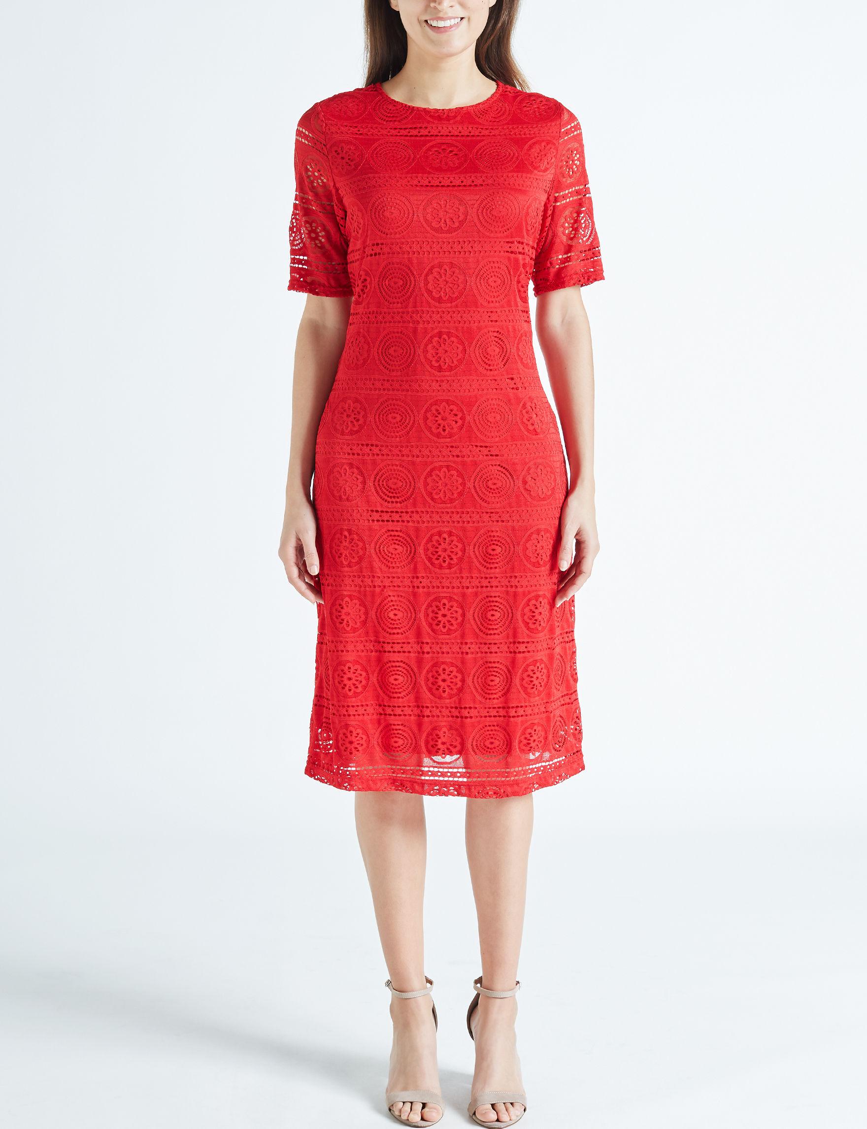 Sharagano Red Sheath Dresses