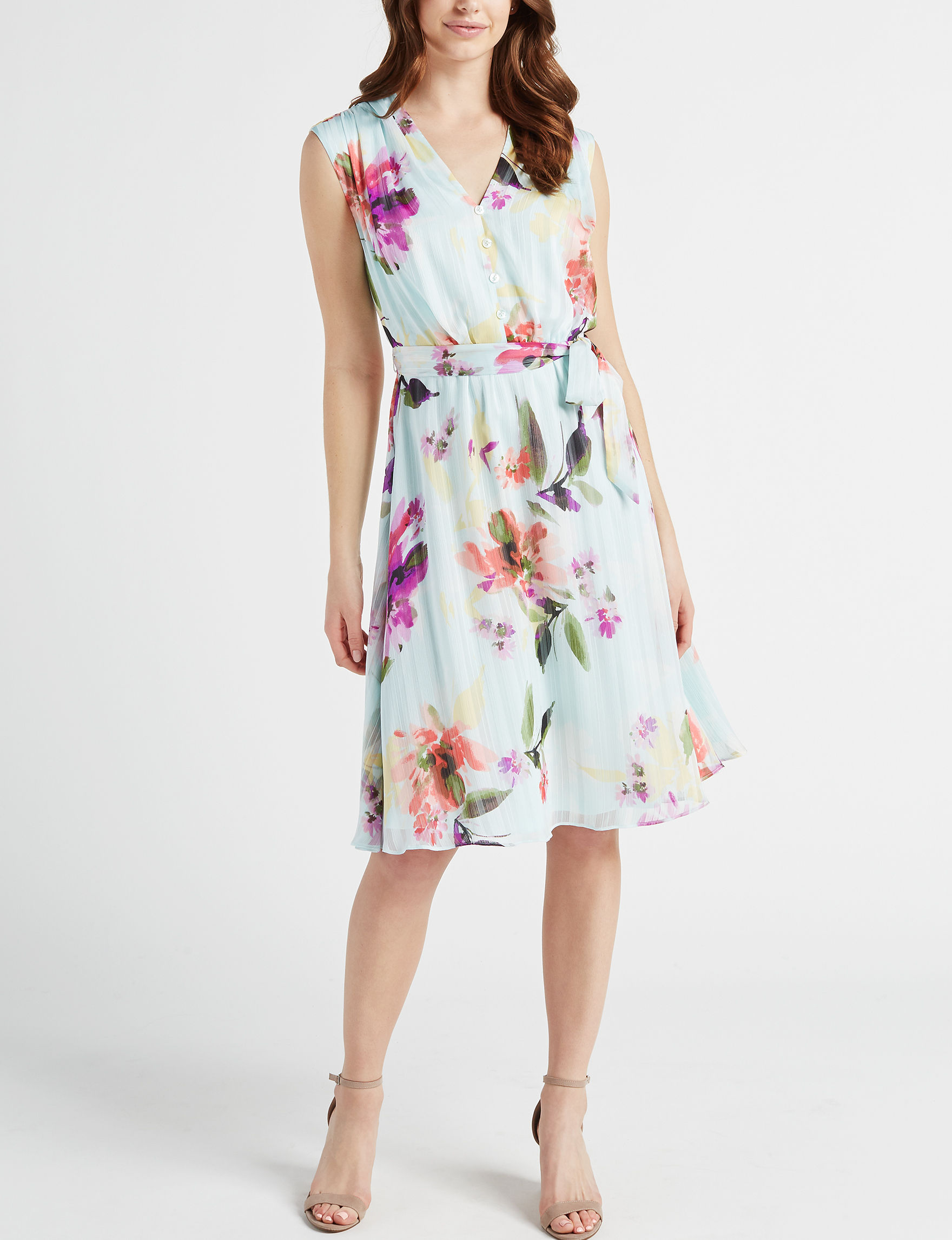 London Times White Floral Everyday & Casual A-line Dresses Fit & Flare Dresses