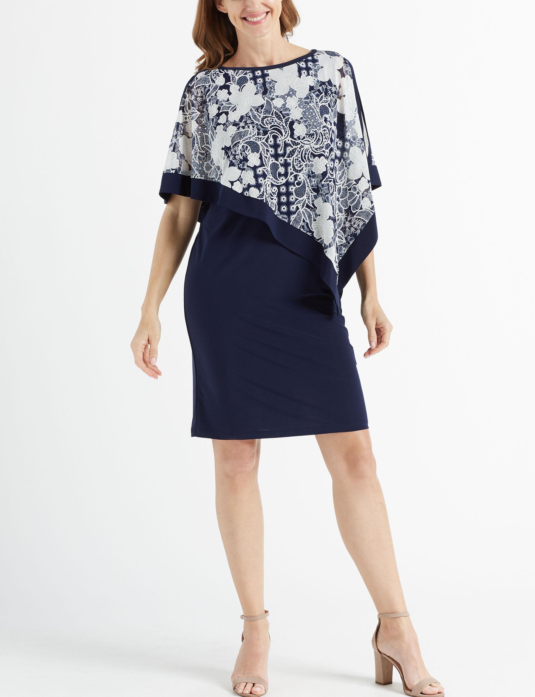 R & M Richards Navy / White Everyday & Casual Jacket Dresses