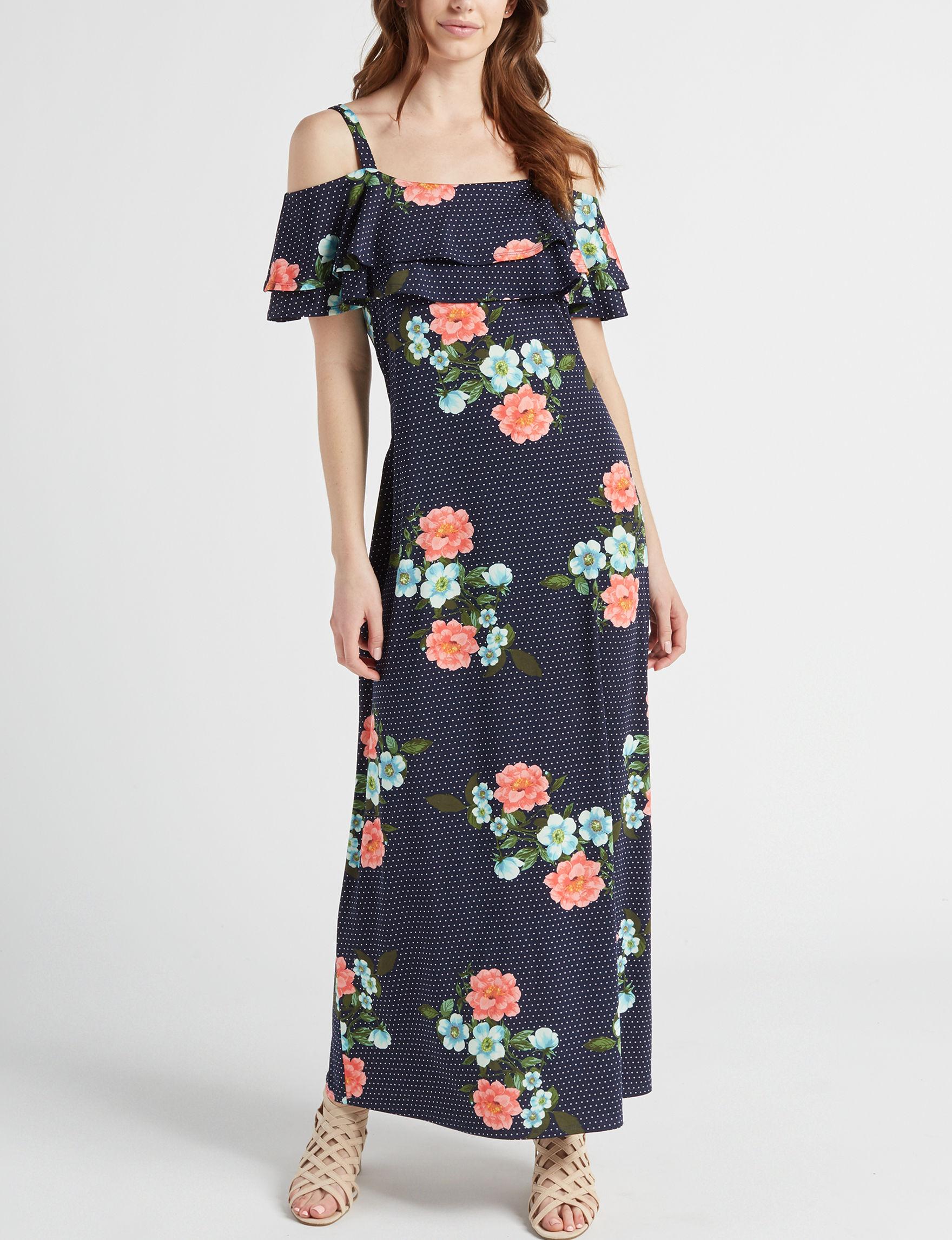 Nina Leonard Black Floral Everyday & Casual