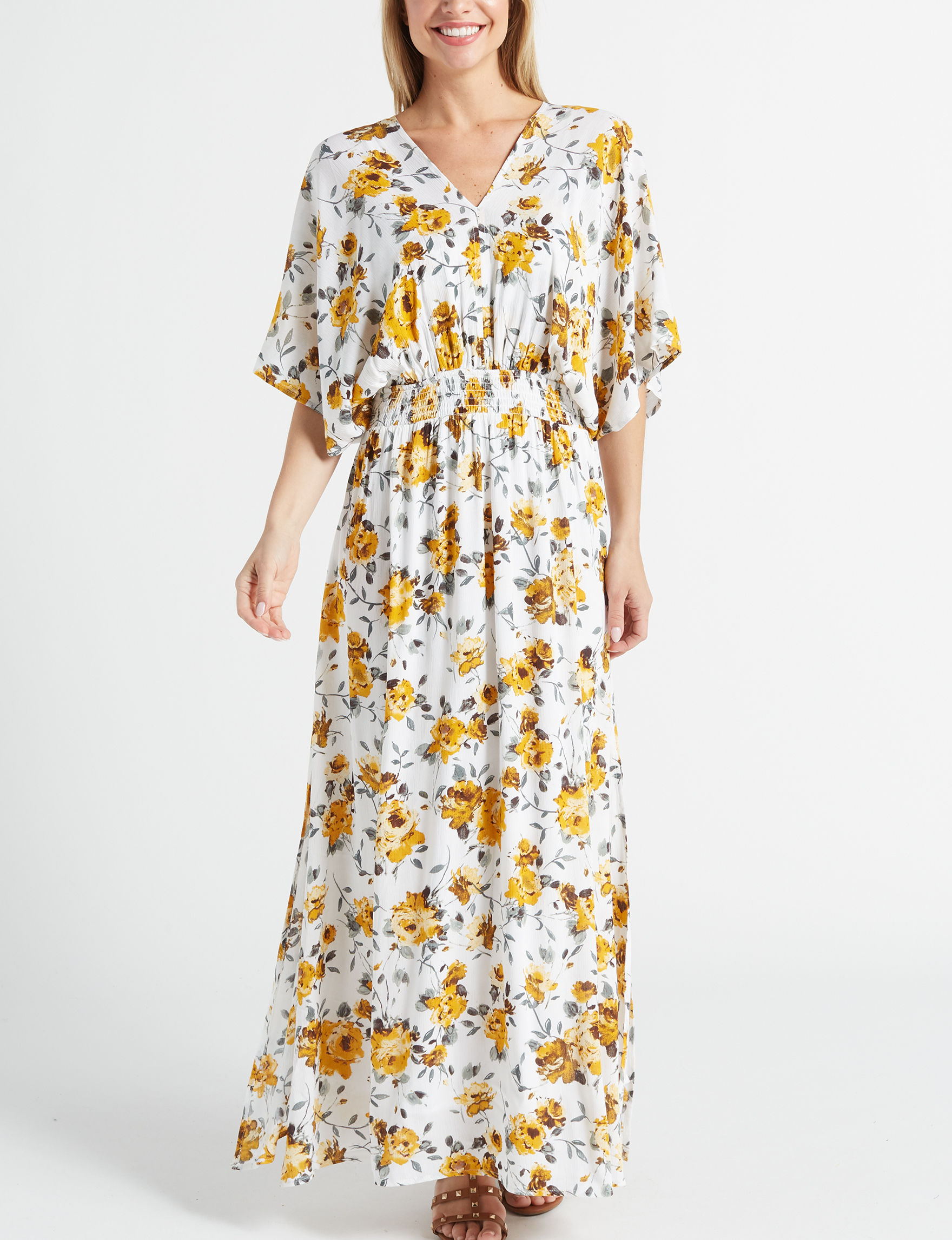 Nina Leonard Mustard Floral Everyday & Casual Fit & Flare Dresses