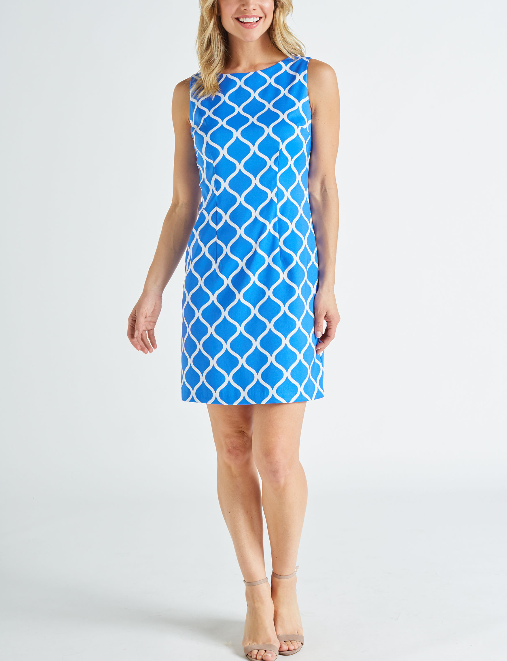 AGB Blue / White Everyday & Casual Sheath Dresses