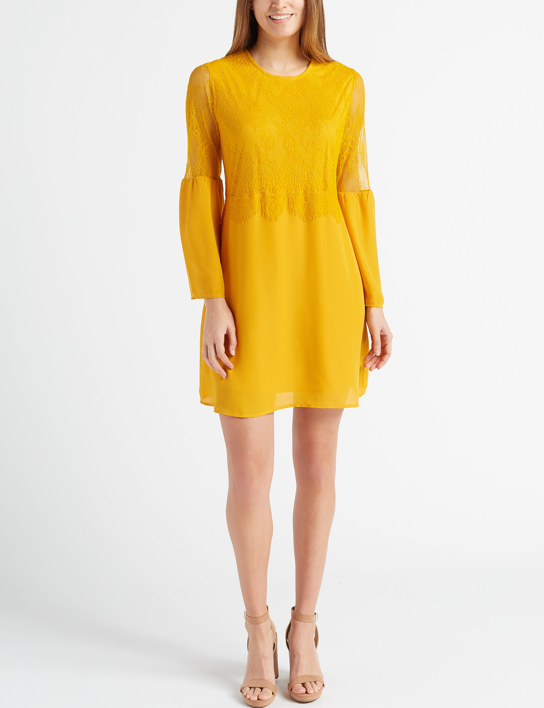 Liberty Love Mustard Cocktail & Party Everyday & Casual Shift Dresses