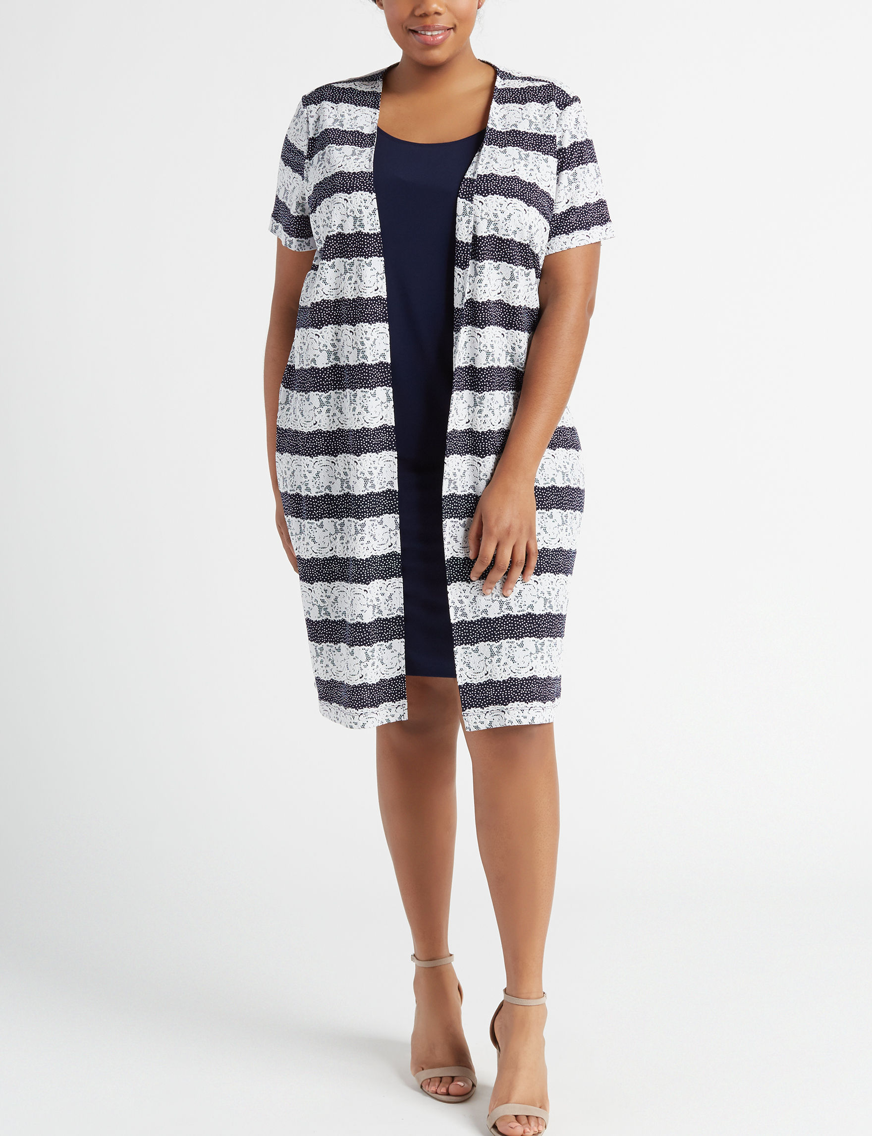 Perceptions Navy / Ivory Everyday & Casual Jacket Dresses