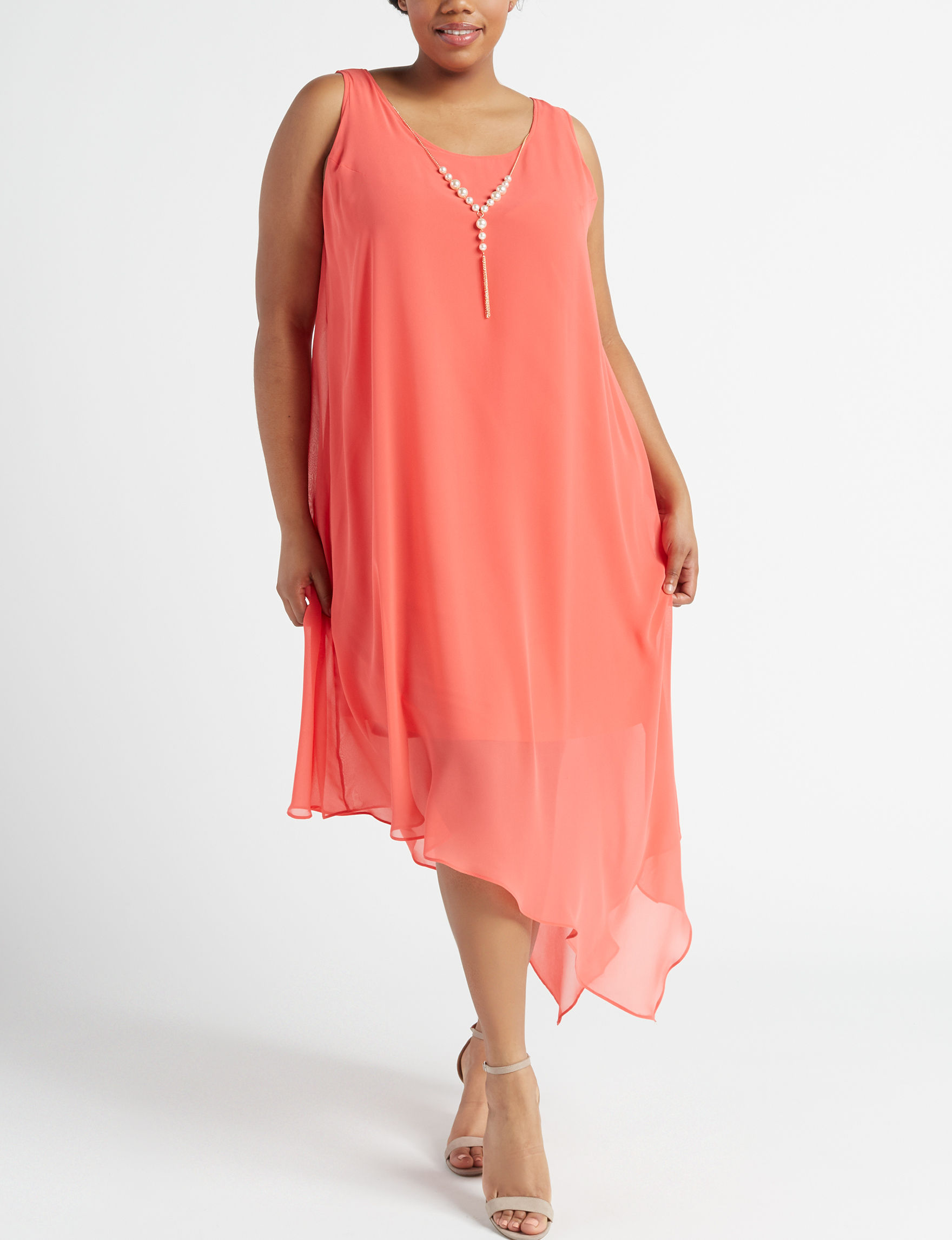 Glamour Coral Everyday & Casual Shift Dresses