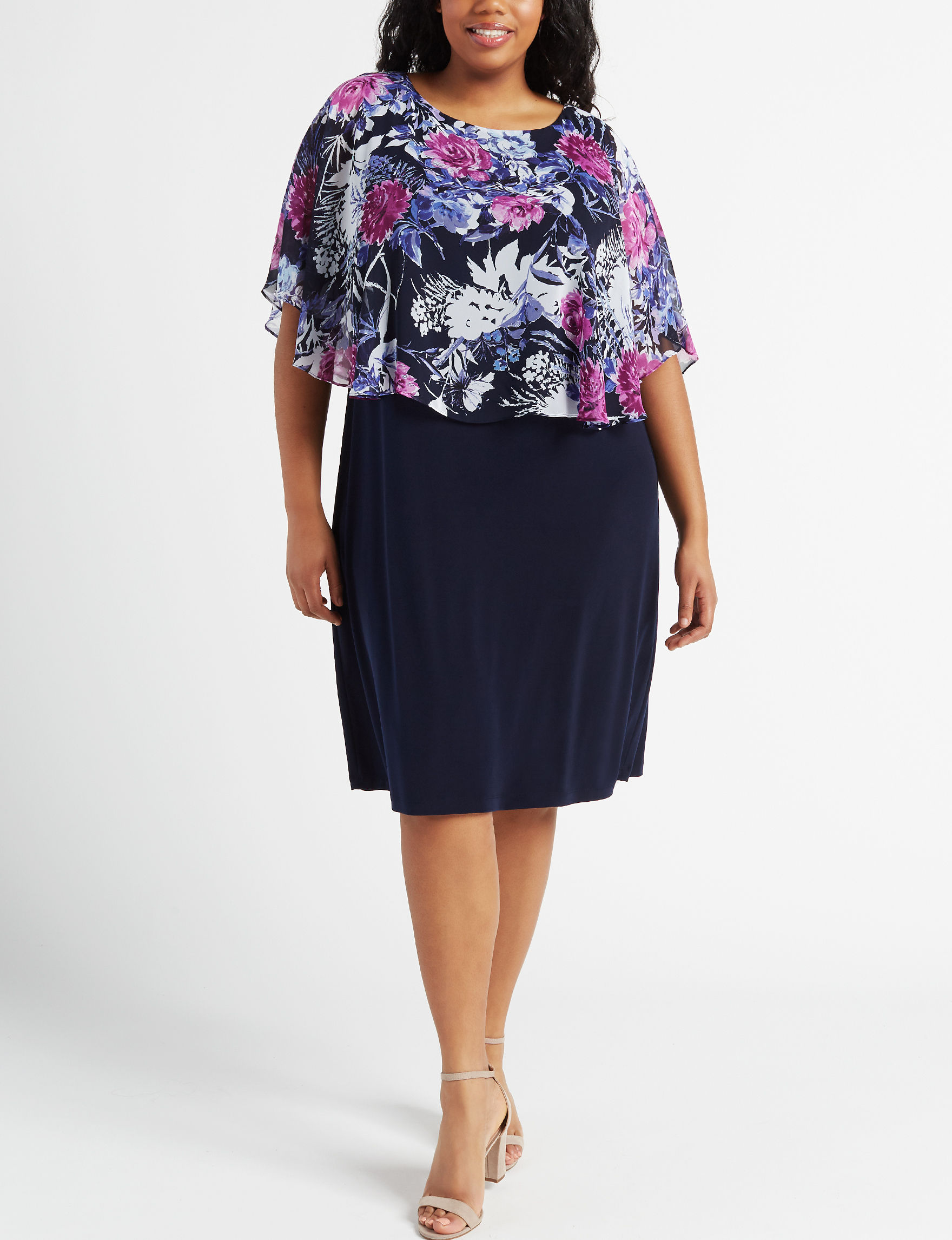 Connected Navy Floral Everyday & Casual Jacket Dresses