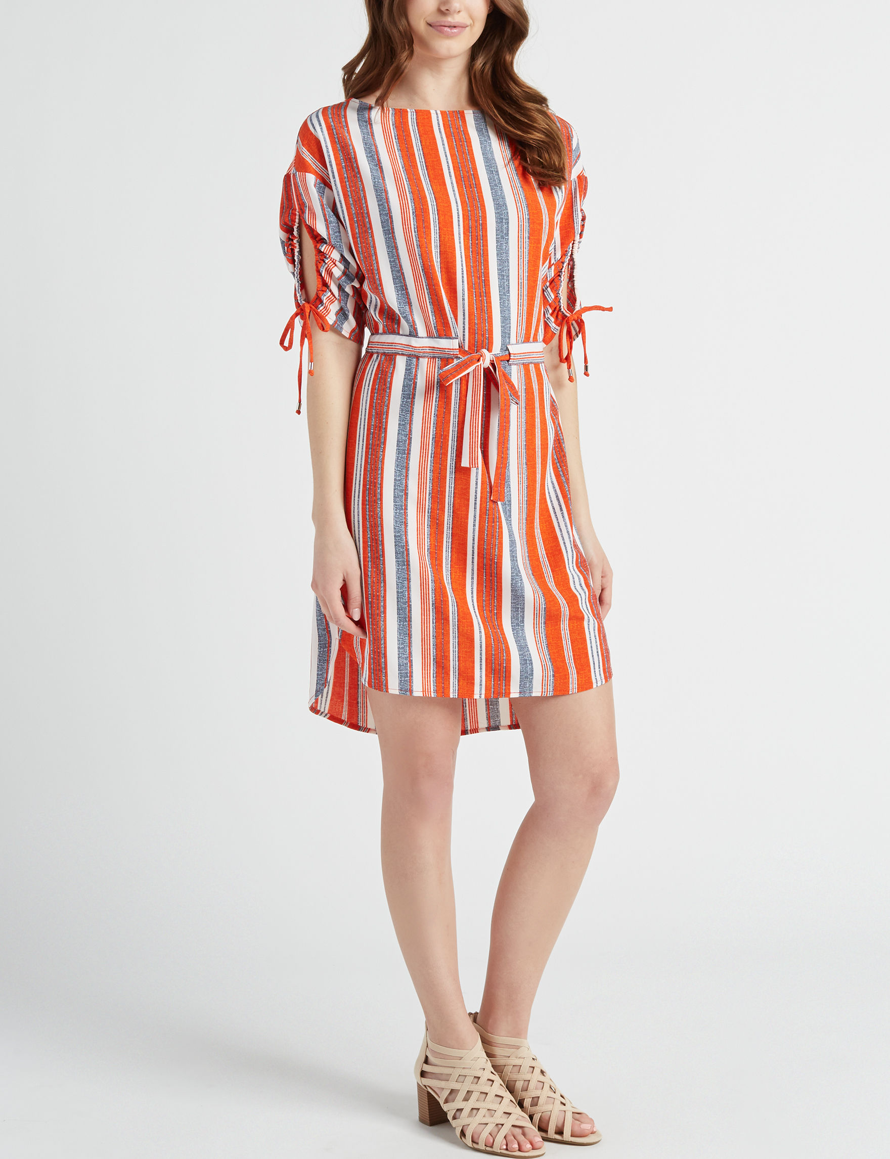 Beige by ECI Red Stripe Multi Everyday & Casual Shift Dresses