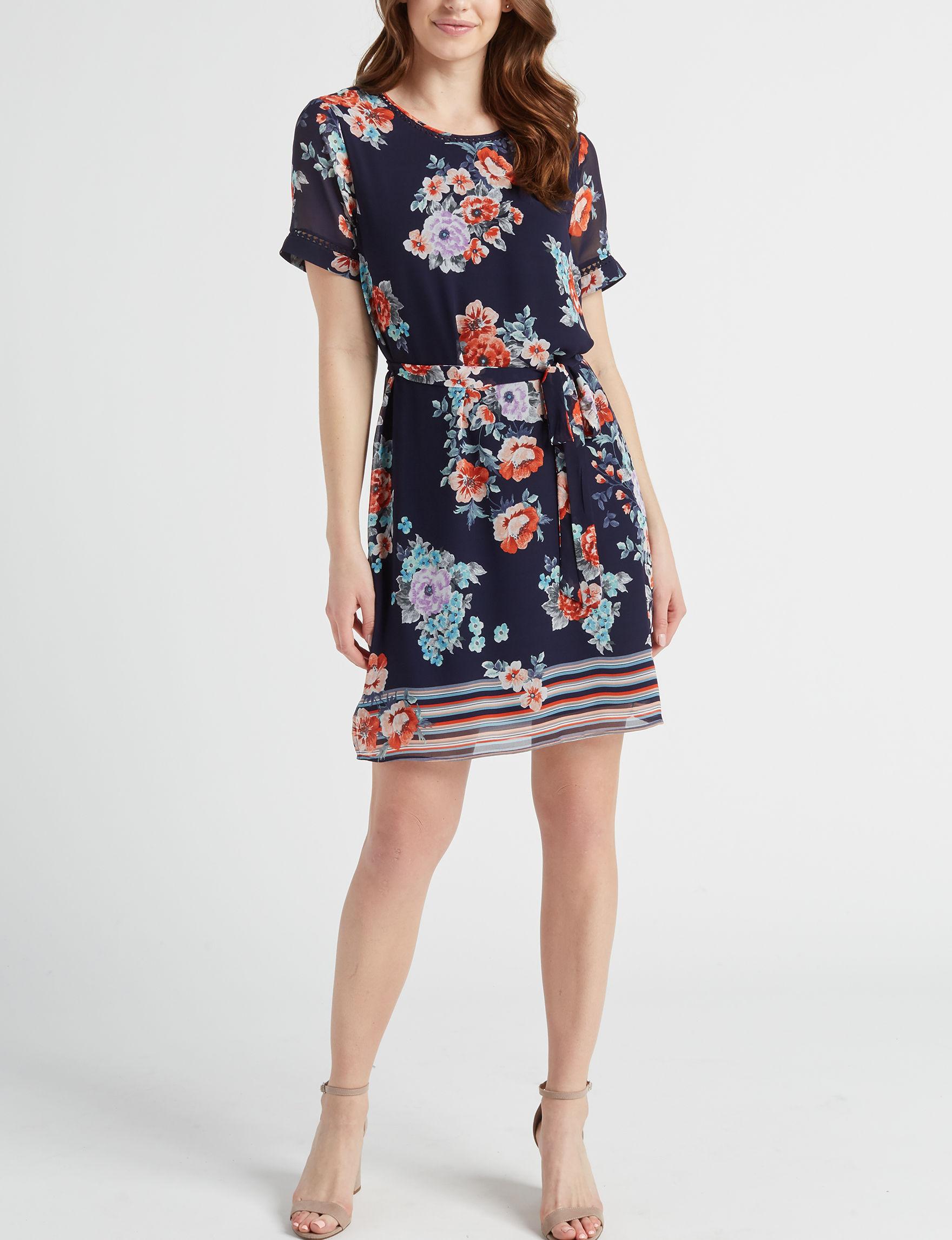 Signature Studio Blue Floral Everyday & Casual Shirt Dresses