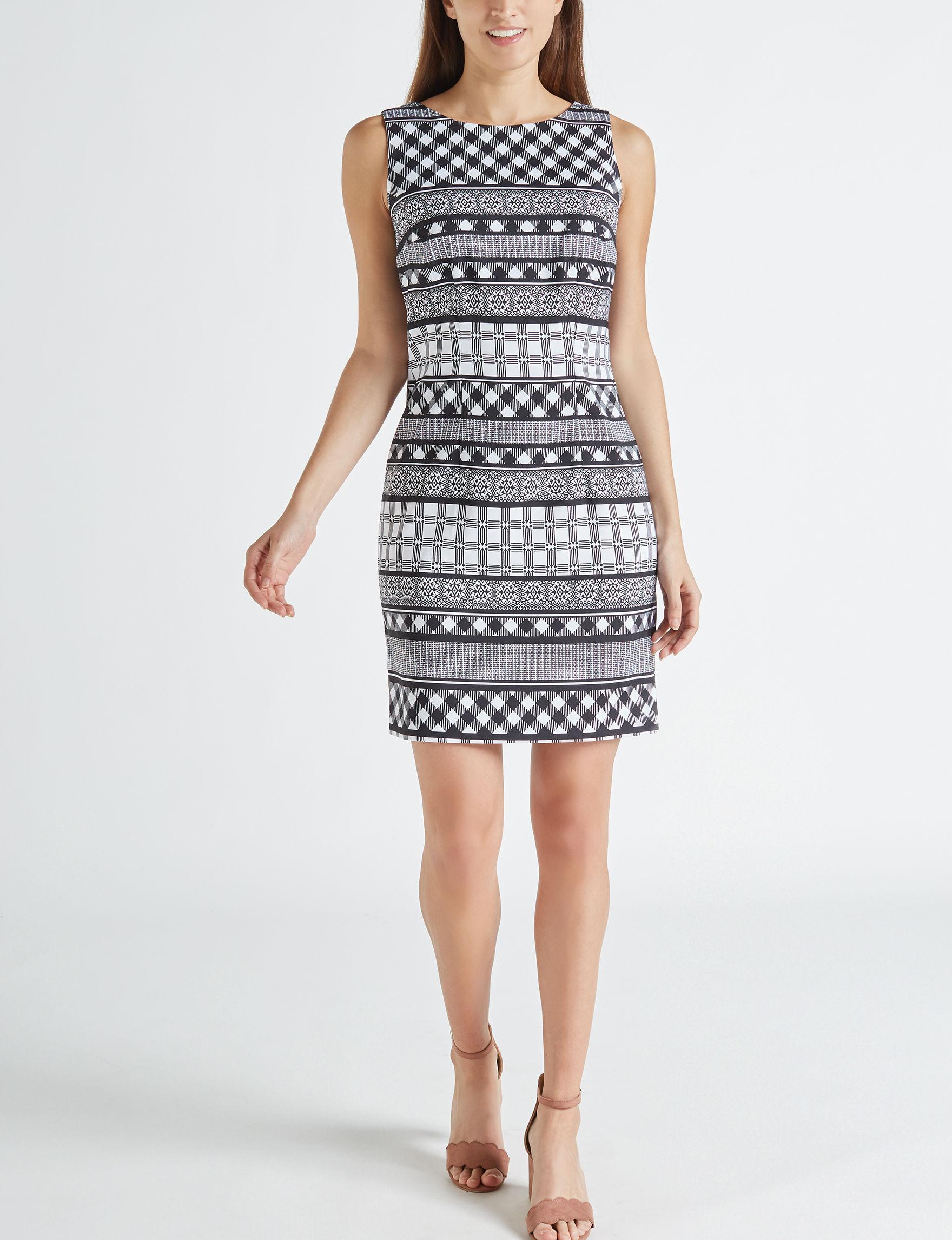 AGB White / Black Everyday & Casual Sheath Dresses