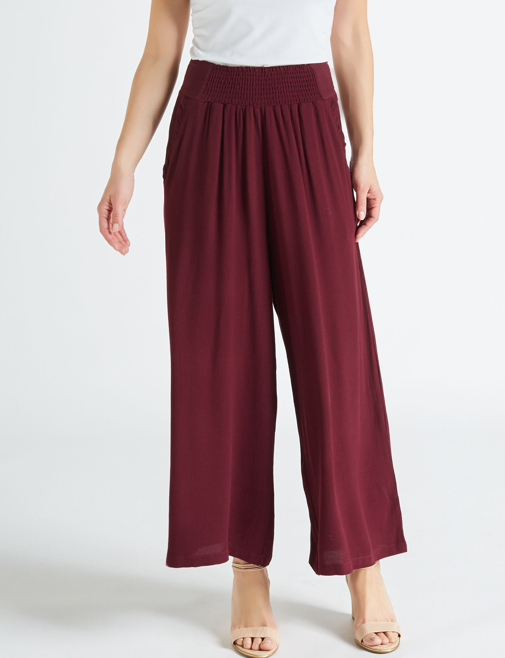 C + J Collections Burgundy Wide Leg