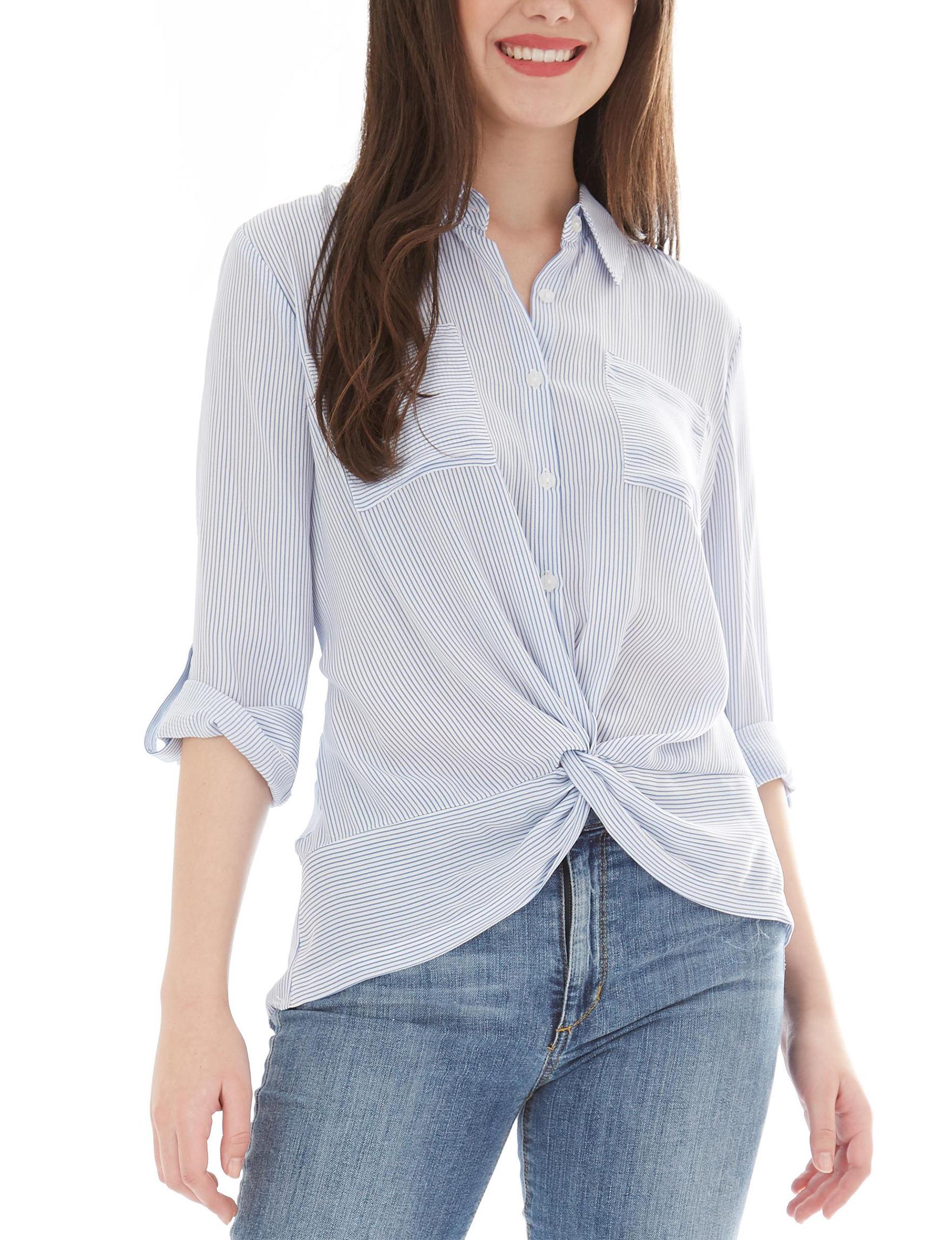 A. Byer White / Blue Shirts & Blouses