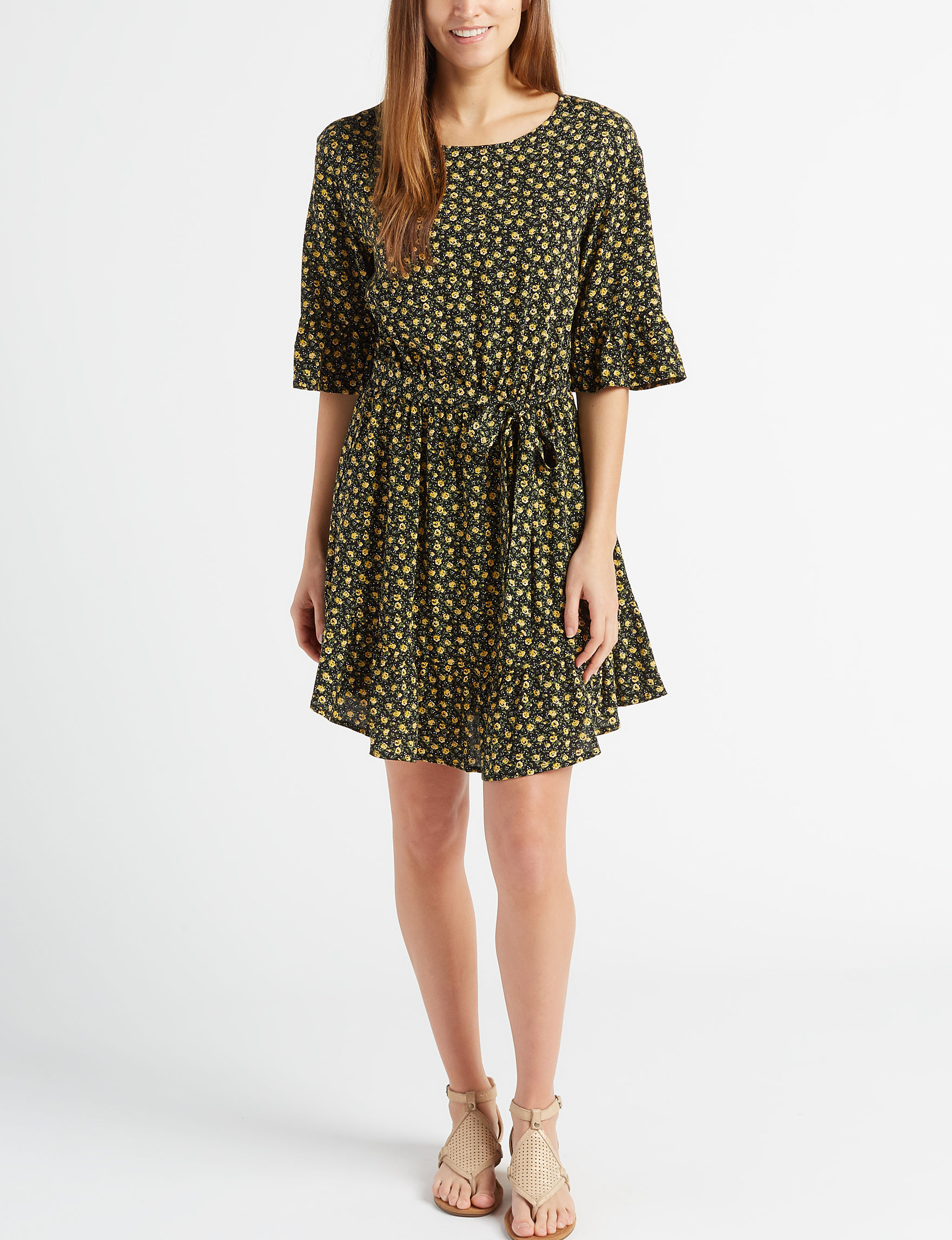 BeBop Black / Yellow Everyday & Casual Fit & Flare Dresses