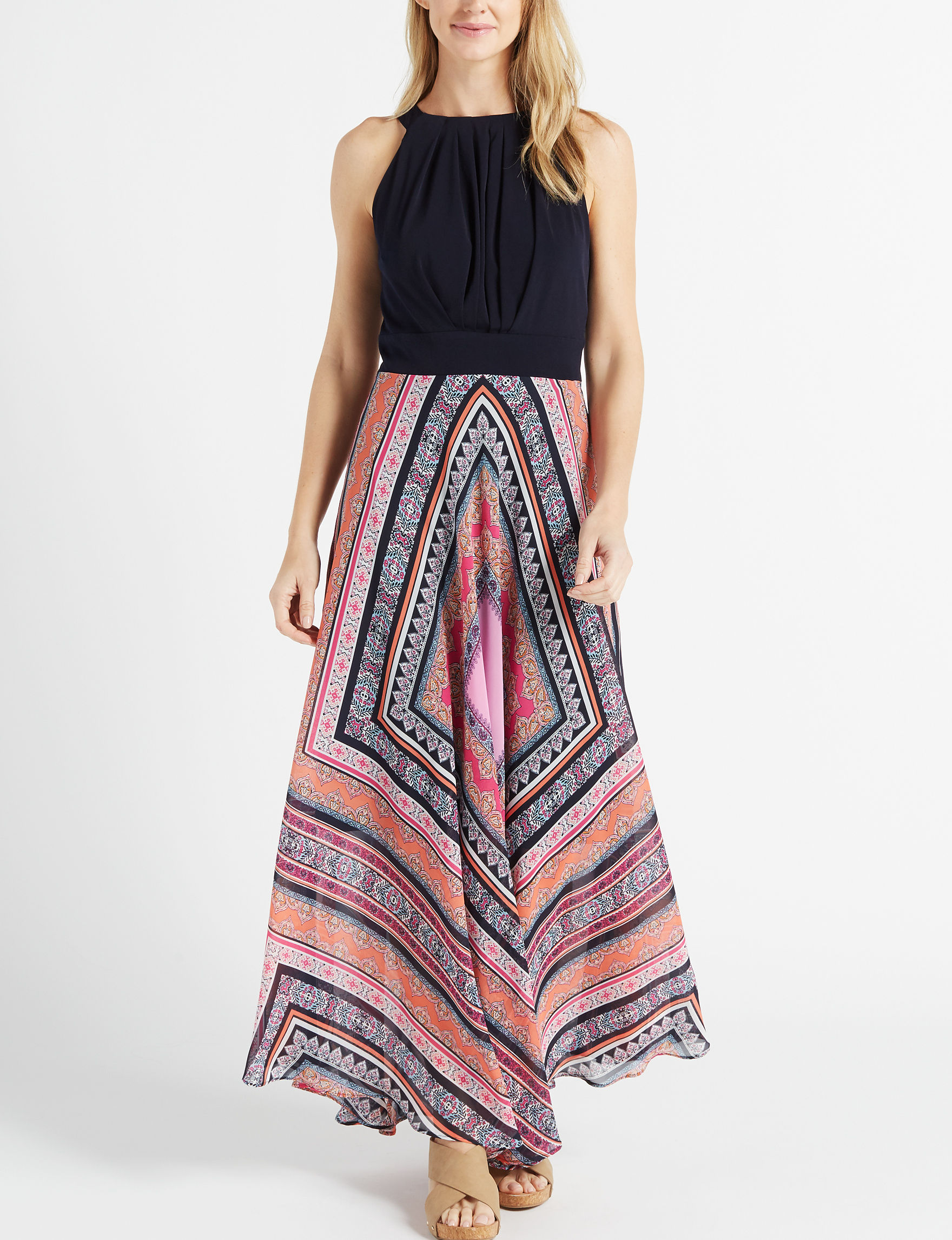 Sandra Darren Black/Pink/White Everyday & Casual Maxi Dresses