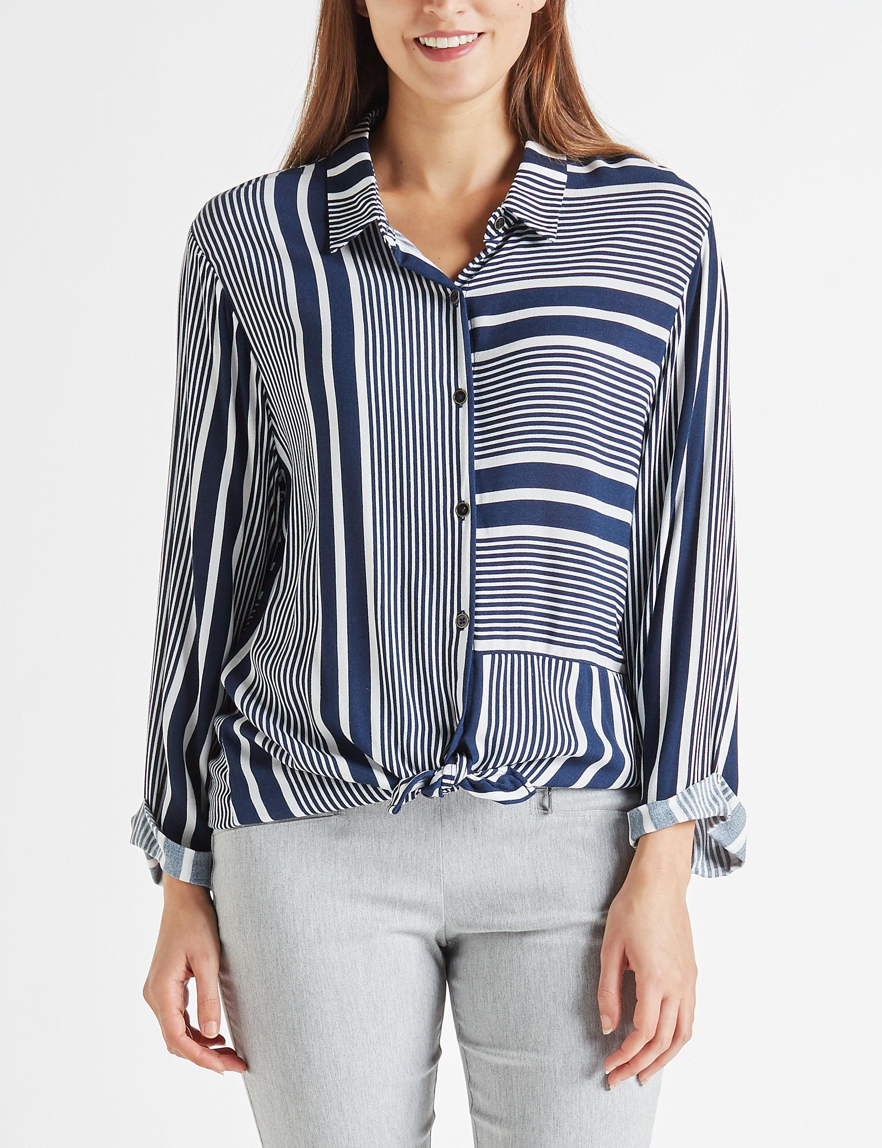 Leighton White/Navy Shirts & Blouses