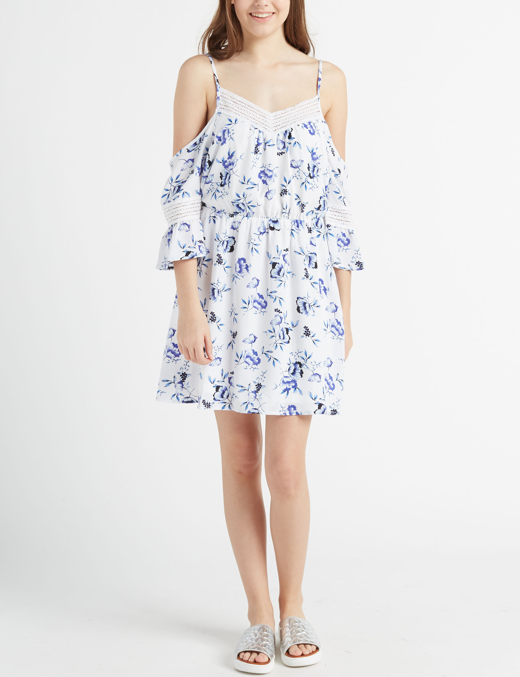 Sequin Hearts Blue / White Everyday & Casual Fit & Flare Dresses