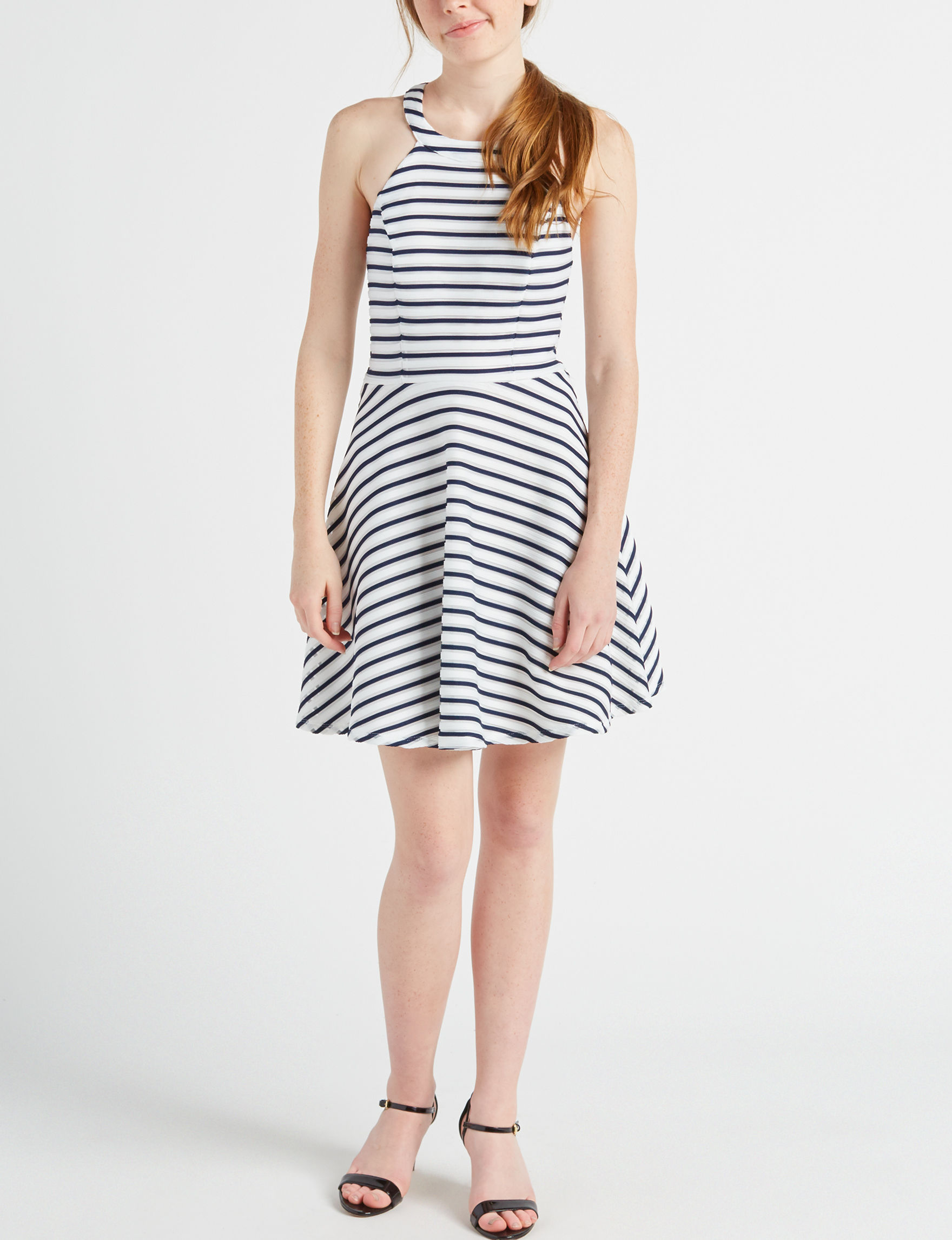 Sequin Hearts White/Navy Cocktail & Party Everyday & Casual Fit & Flare Dresses