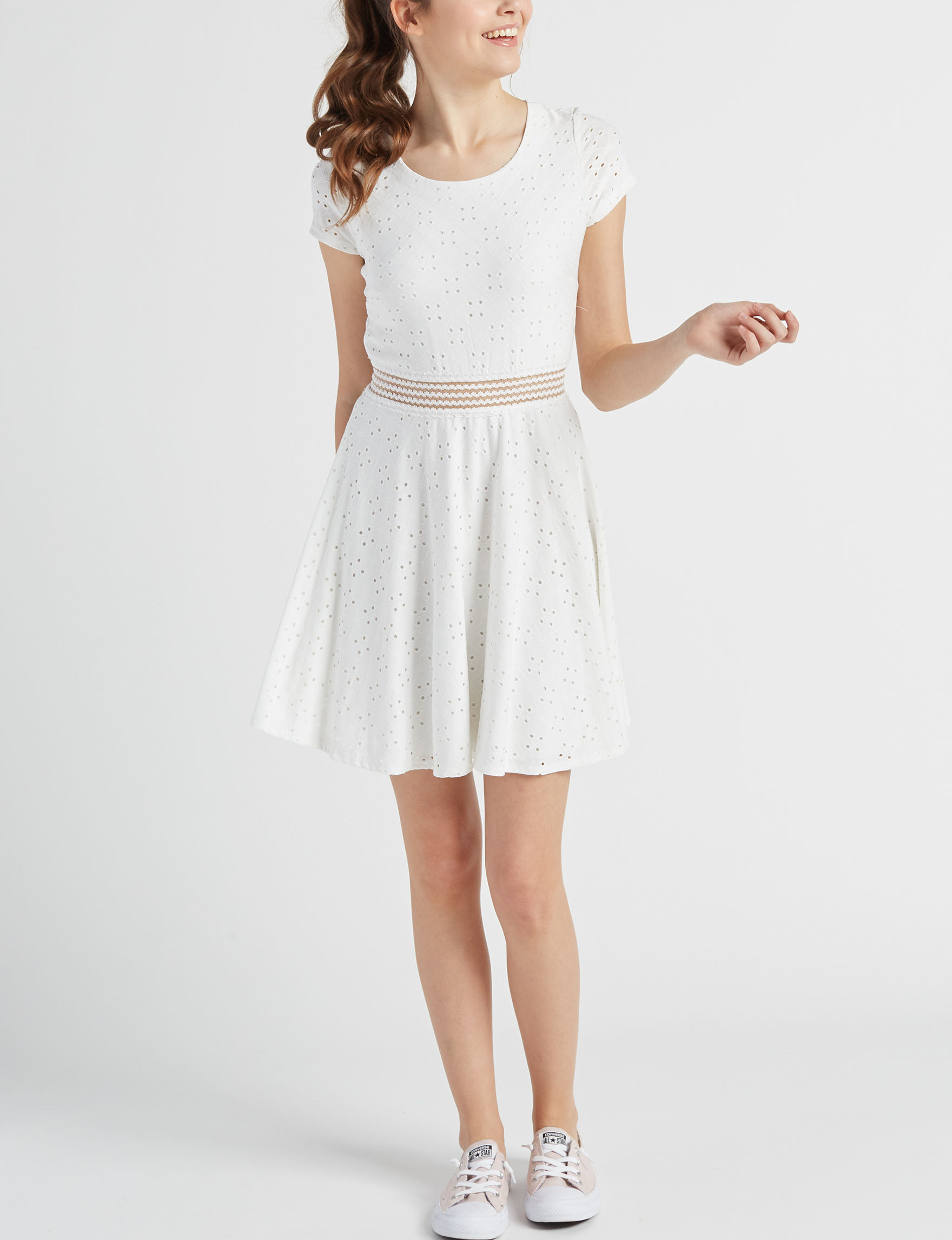 Sequin Hearts White Cocktail & Party Evening & Formal Fit & Flare Dresses
