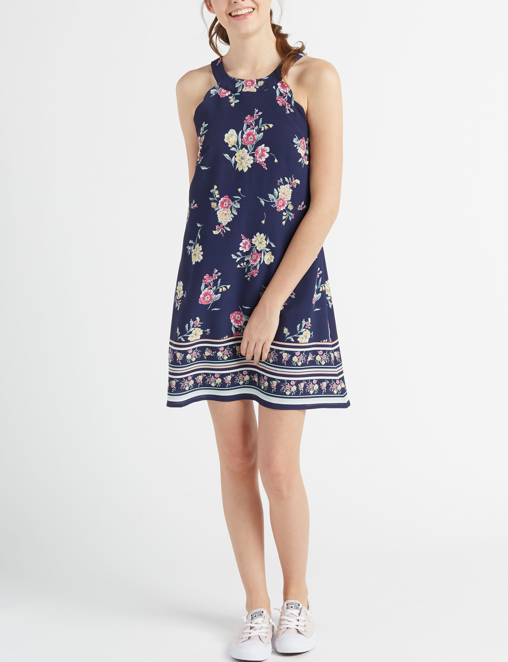 Trixxi Navy Floral Everyday & Casual Shift Dresses